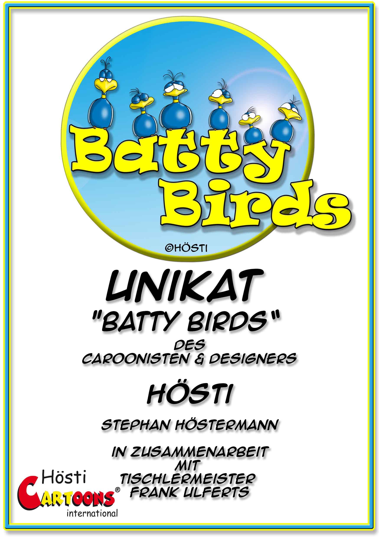 Batty Birds Aufkleber DIN A 5