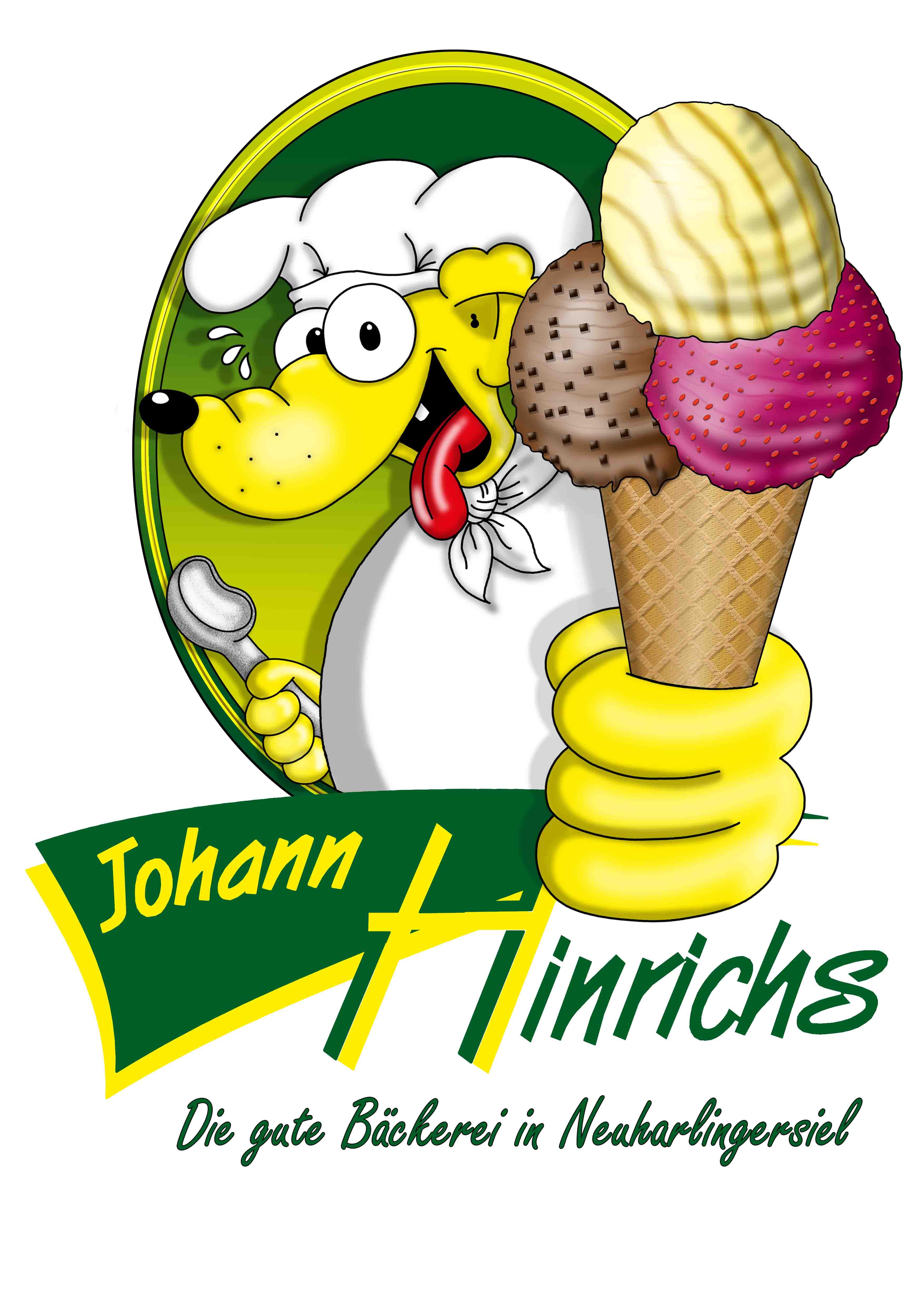 Bäcker HINRICHS neues eisschild mit logo