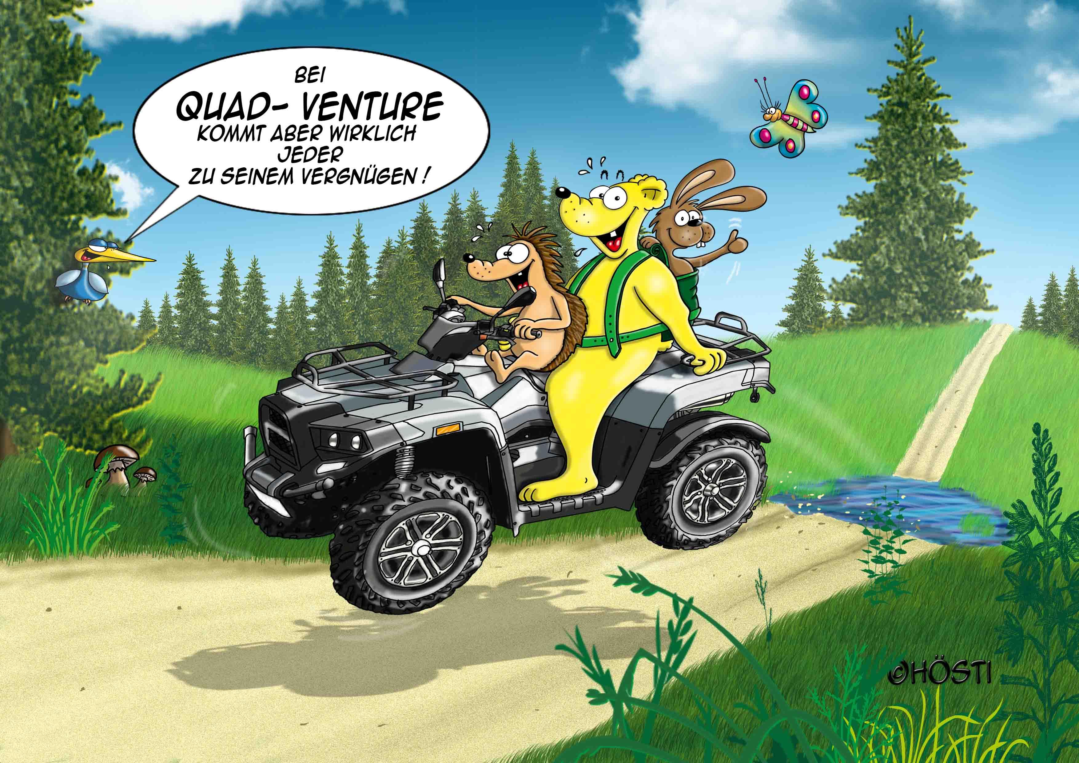 Fertiger Quad Venture Cartoon abgelegt klein RGB