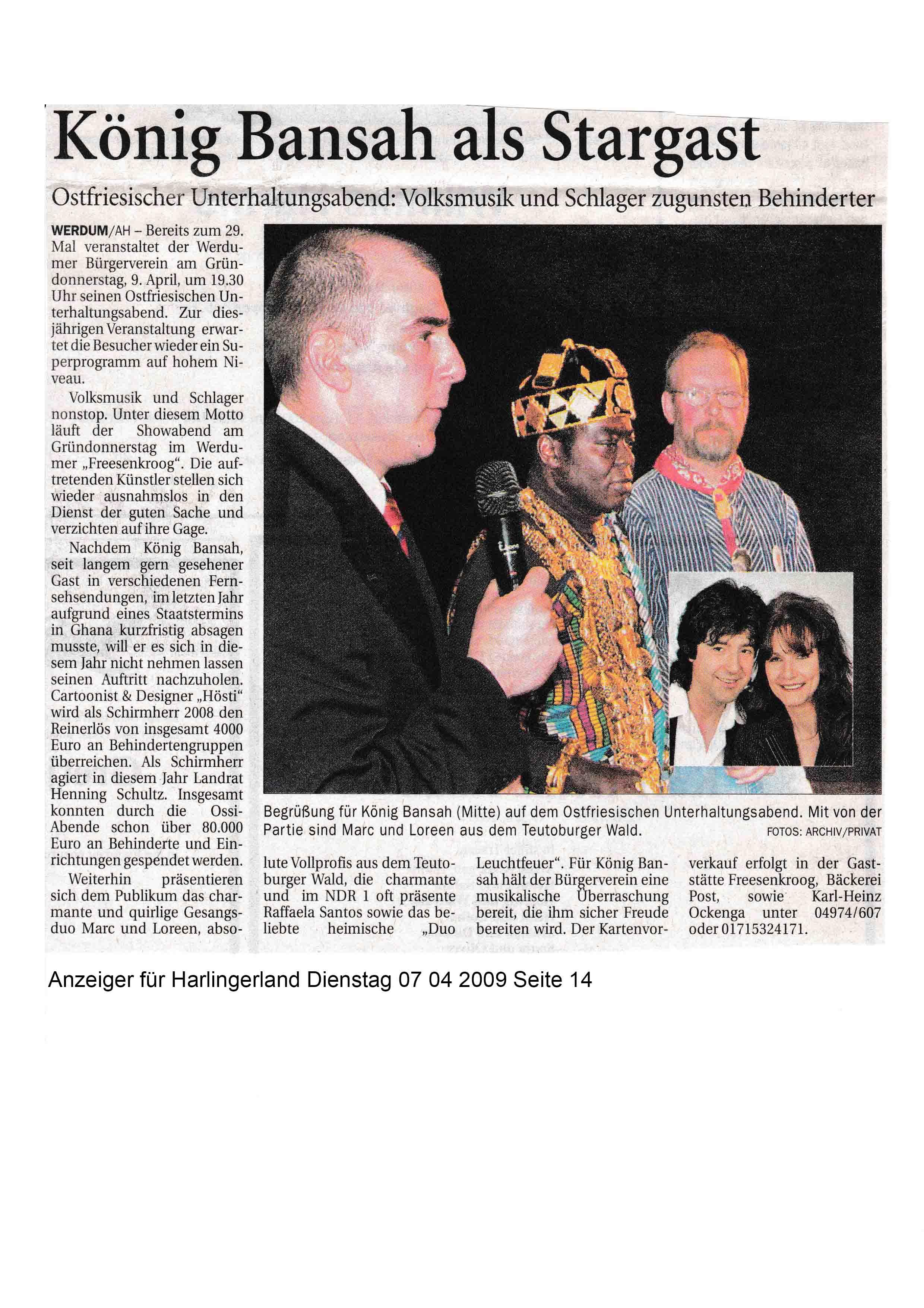 Anzeiger für Harlingerland Dienstag 07 04 2009 Seite 14