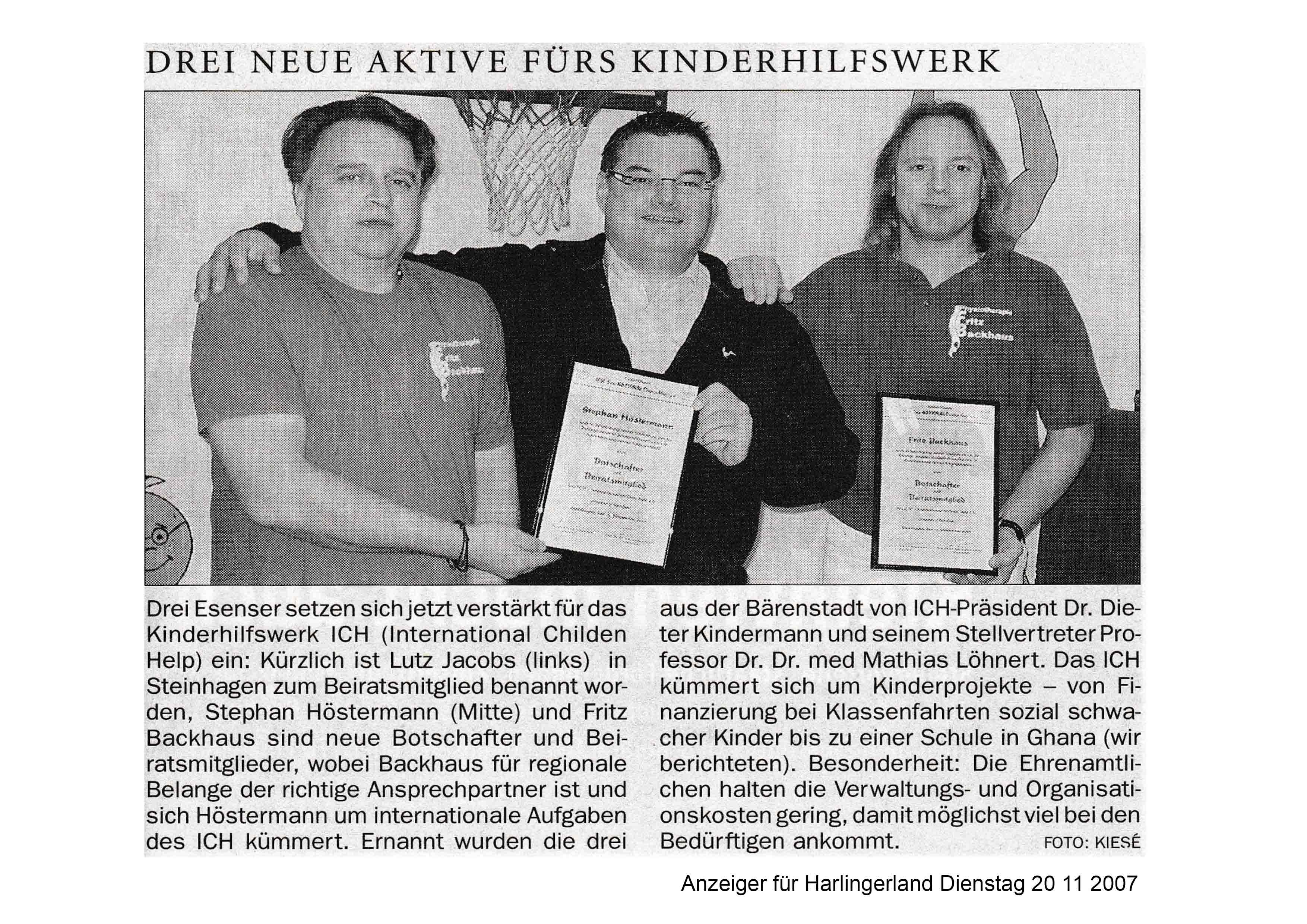 Anzeiger für Harlingerland Dienstag 20 11 2007
