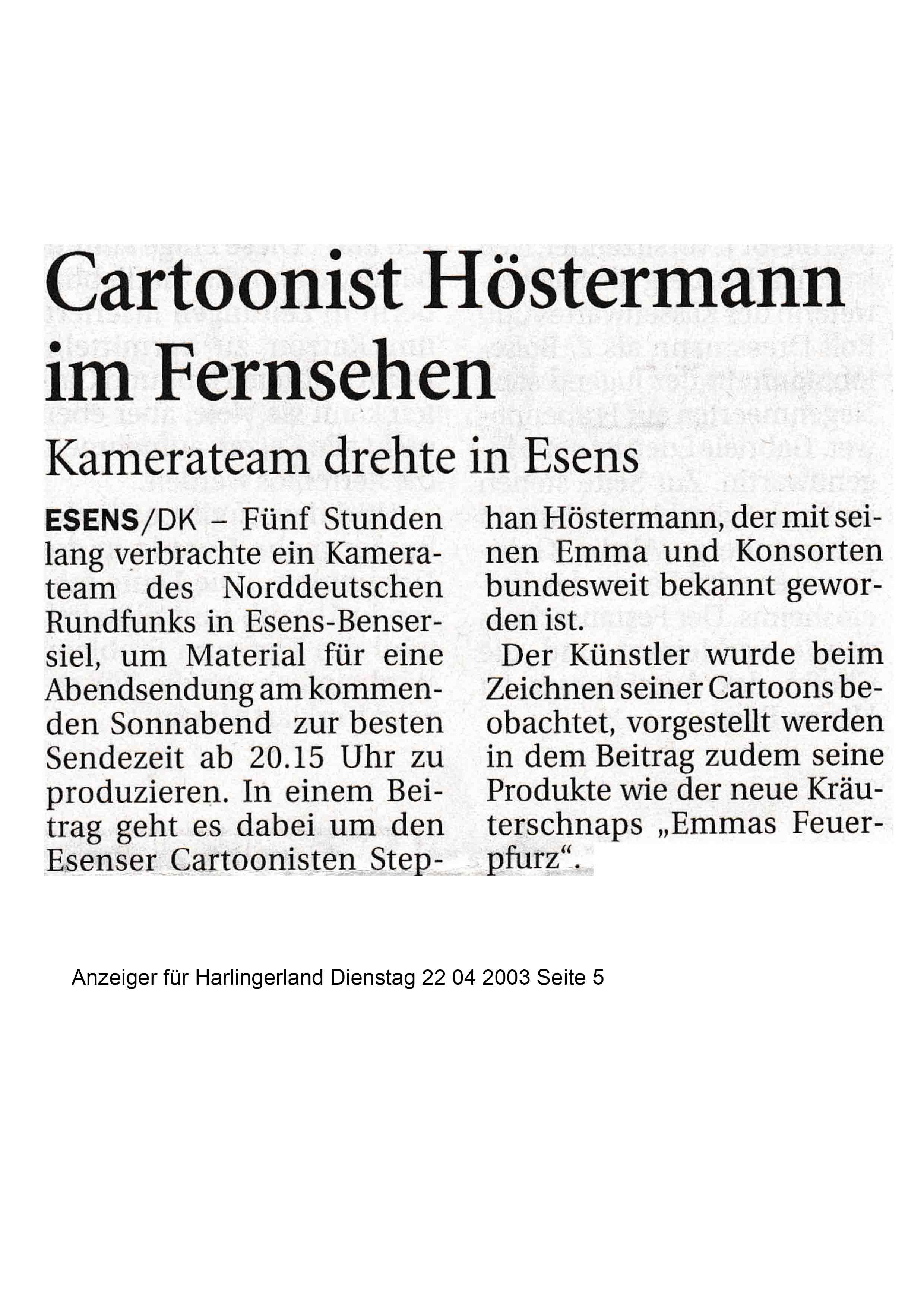 Anzeiger für Harlingerland Dienstag 22 04 2003 Seite 5