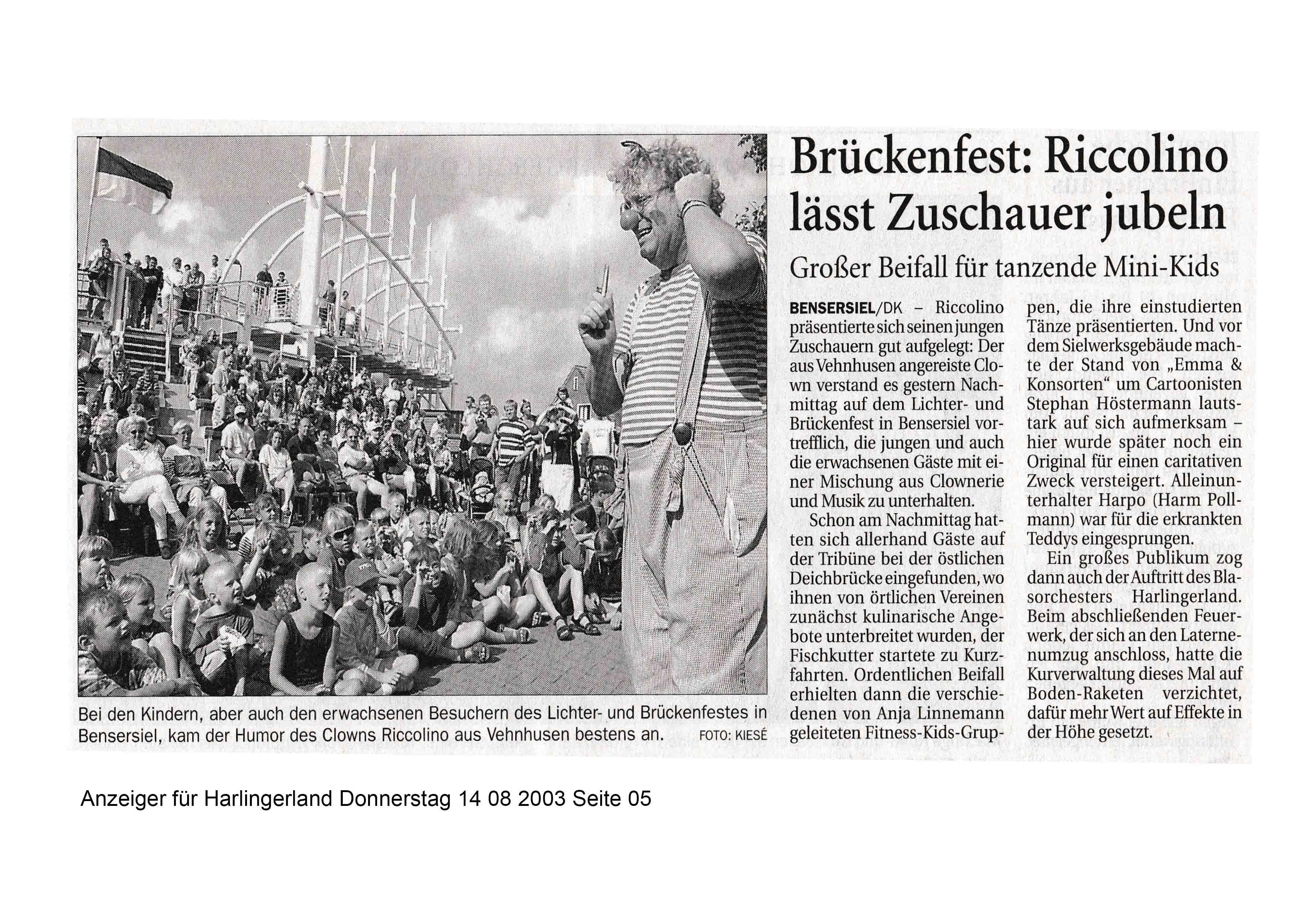 Anzeiger für Harlingerland Donnerstag 14 08 2003 Seite 05