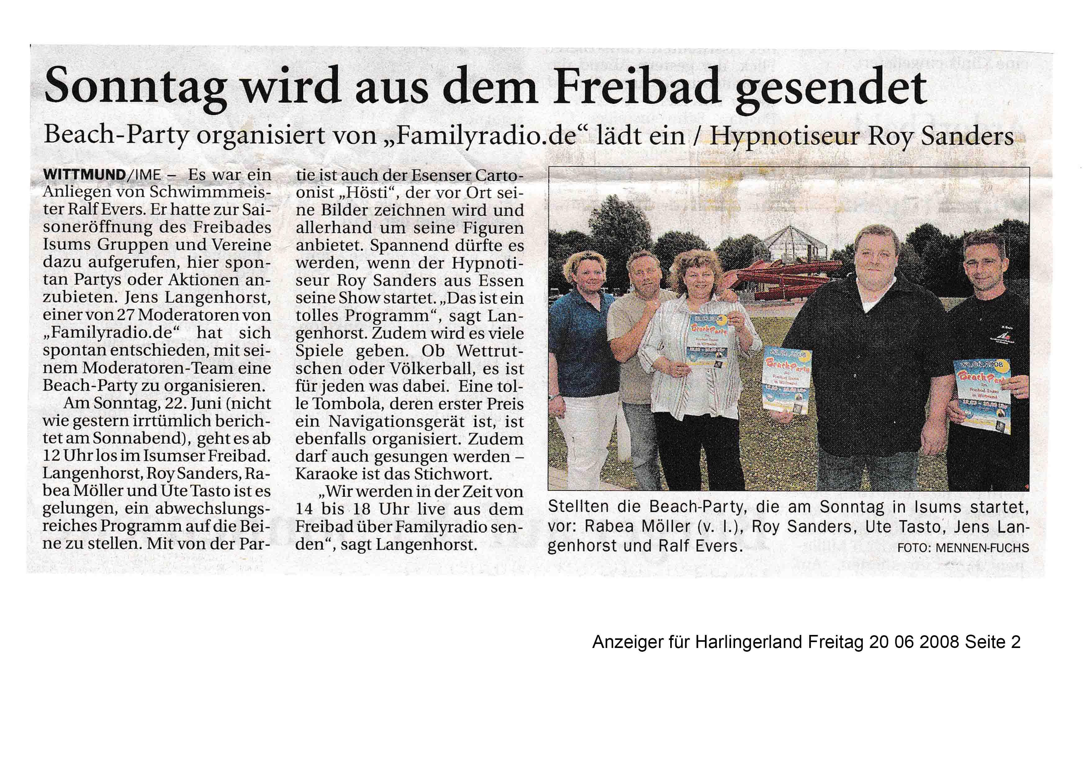 Anzeiger für Harlingerland Freitag 20 06 2008 Seite 2