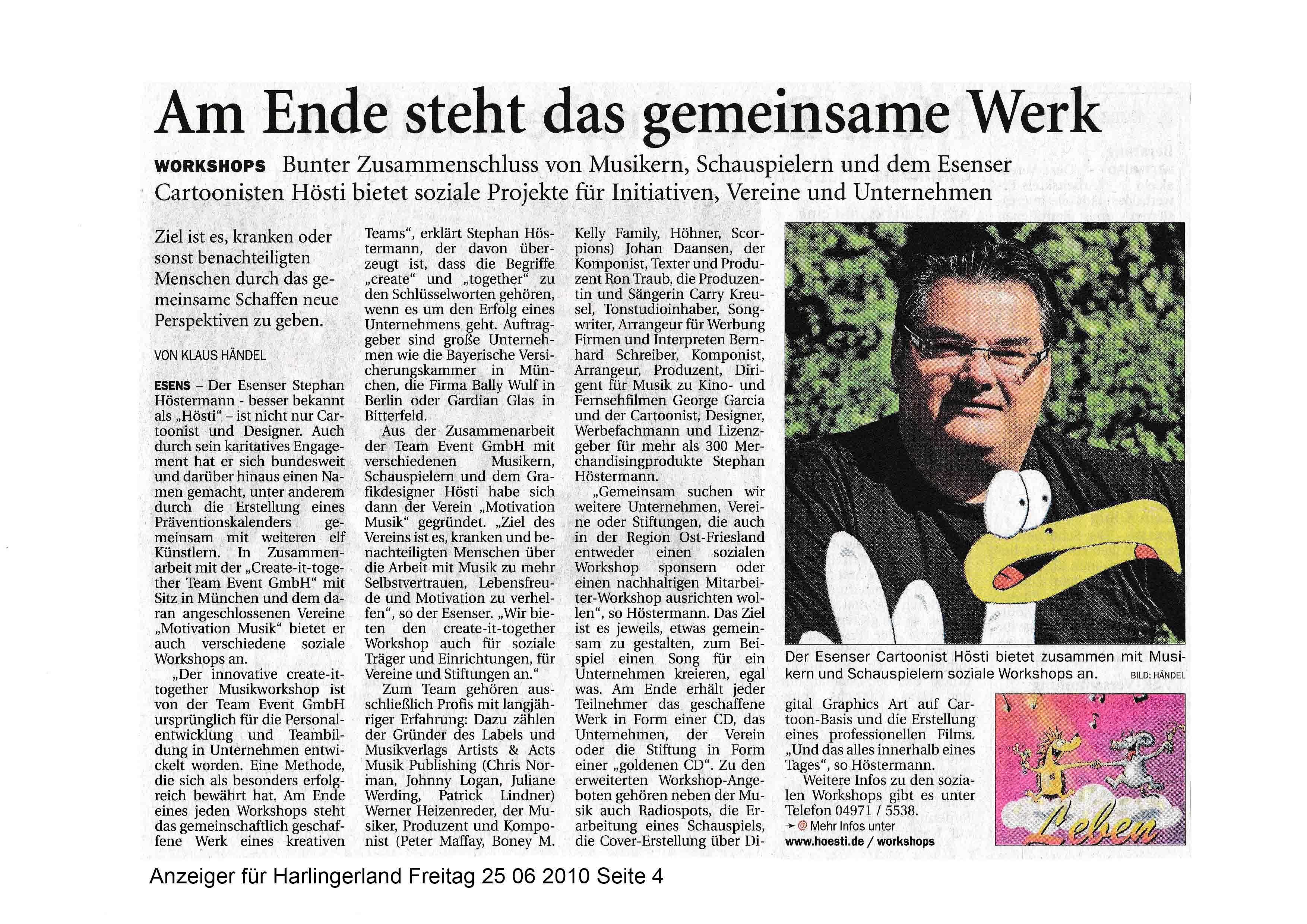 Anzeiger für Harlingerland Freitag 25 06 2010 Seite 4