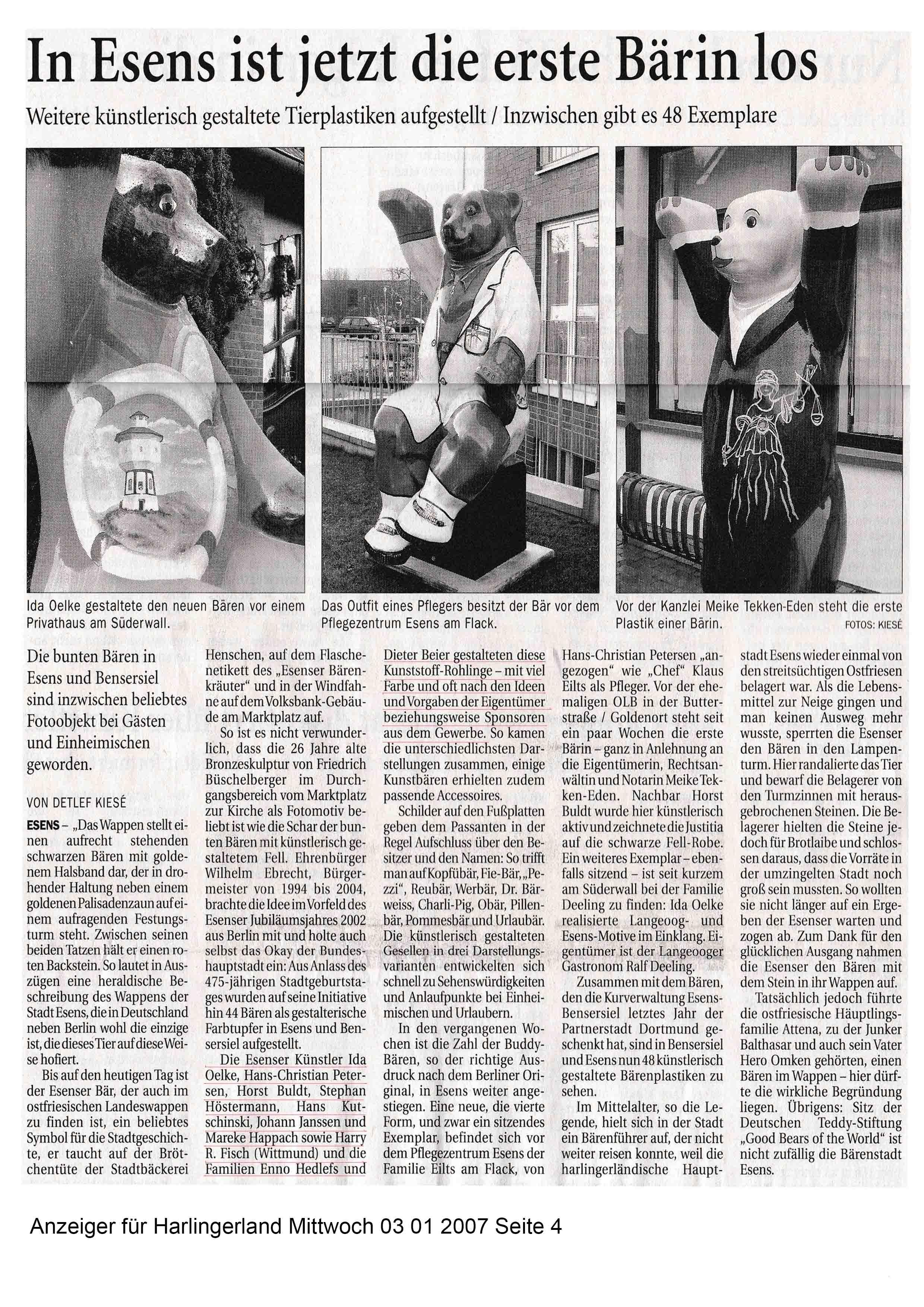 Anzeiger für Harlingerland Mittwoch 03 01 2007 Seite 4