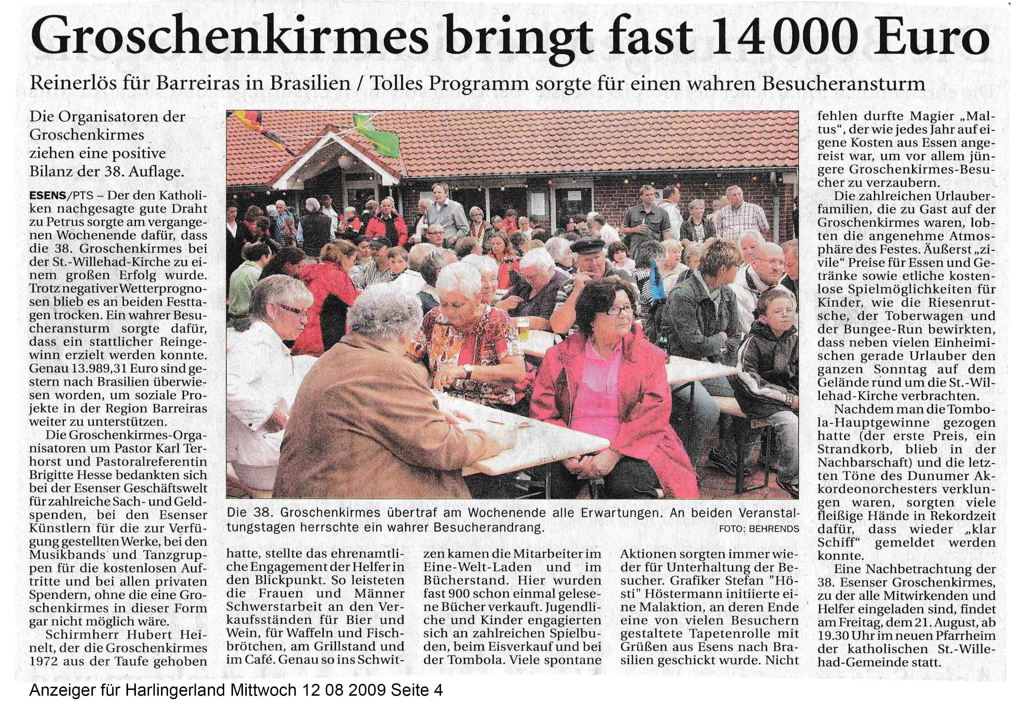 Anzeiger für Harlingerland Mittwoch 12 08 2009 Seite 4
