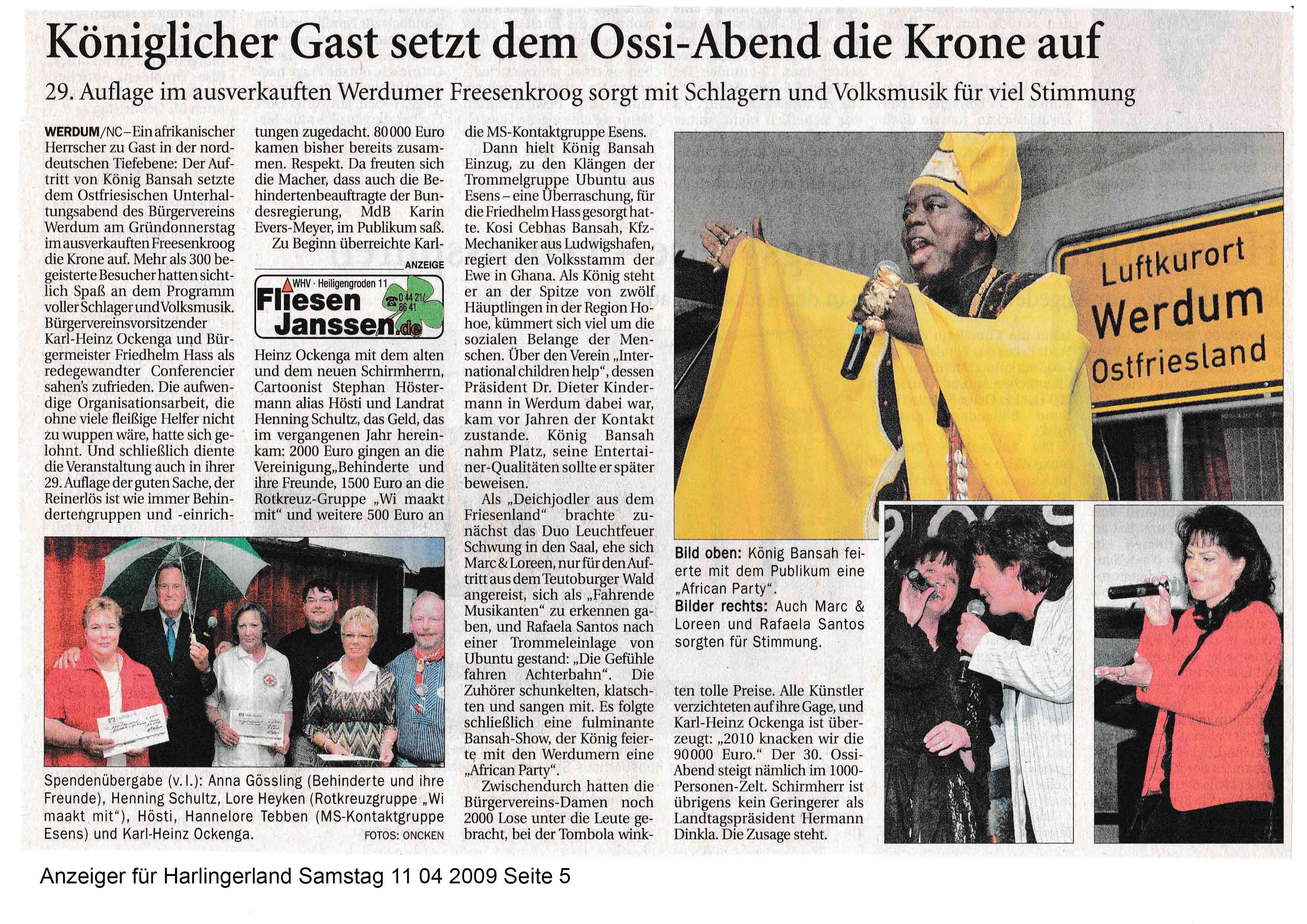 Anzeiger für Harlingerland Samstag 11 04 2009 Seite 5