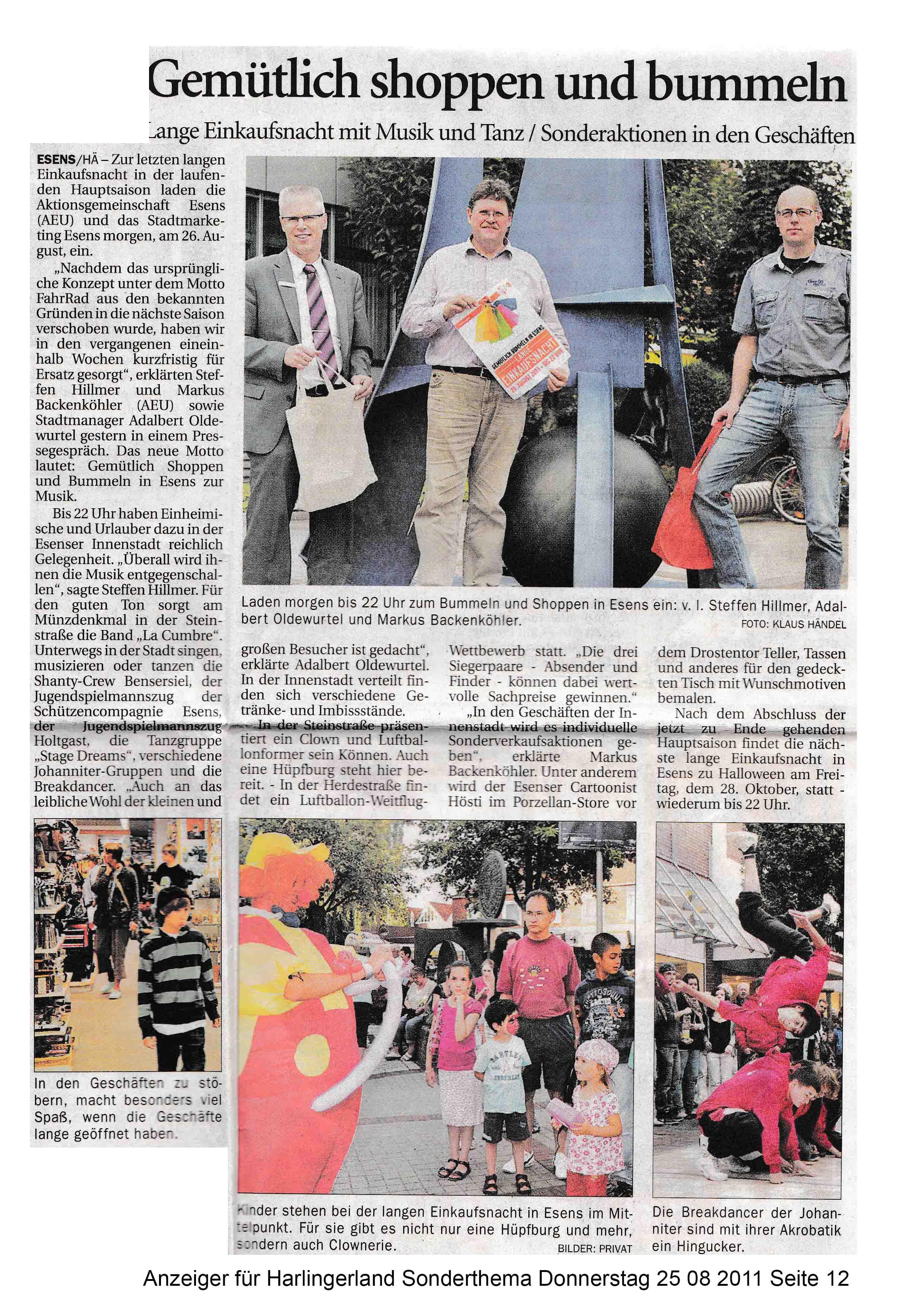 Anzeiger für Harlingerland Sonderthema Donnerstag 25 08 2011 Seite 12