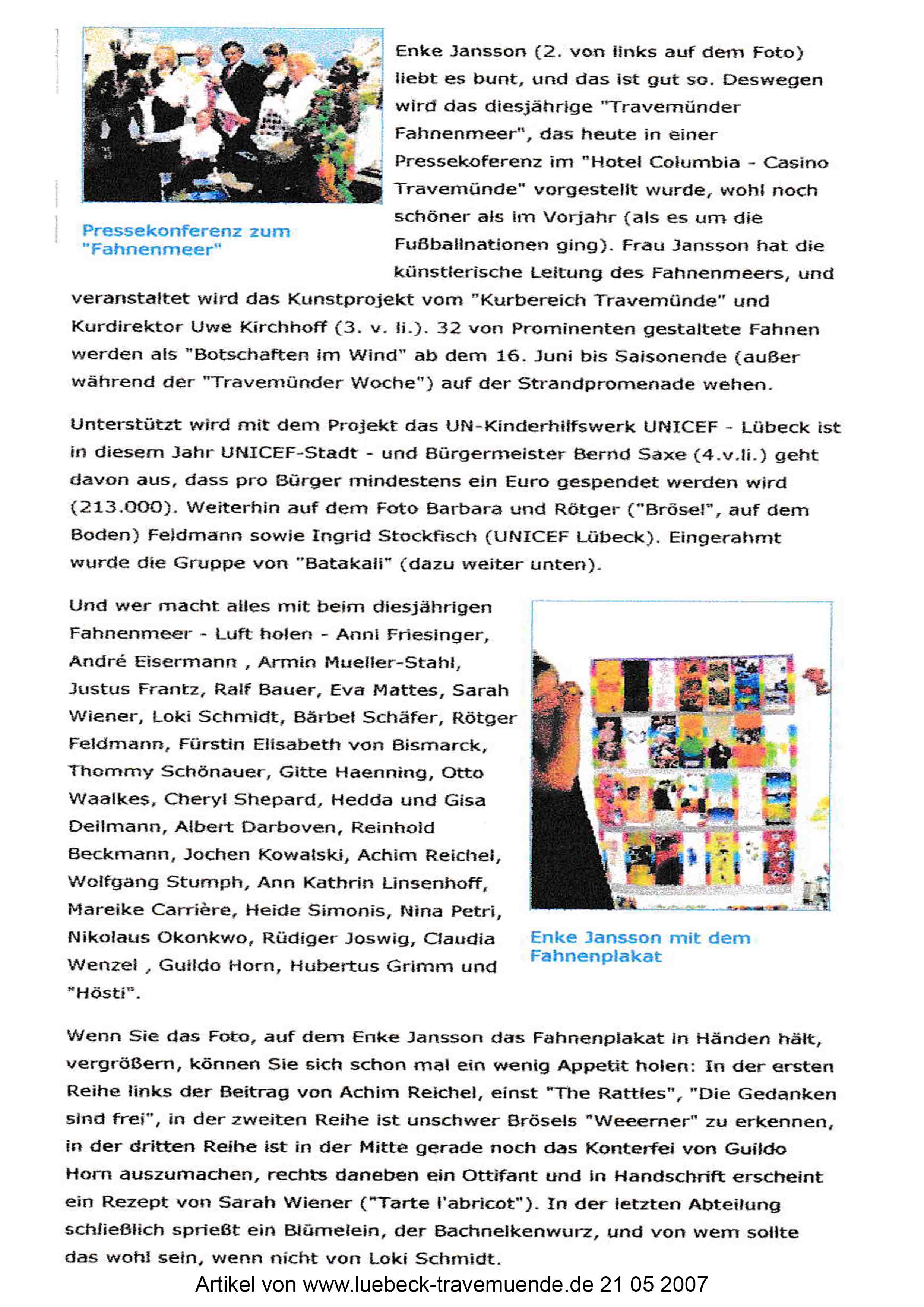 Artikel von www Luebeck travemuende de 21 05 2007