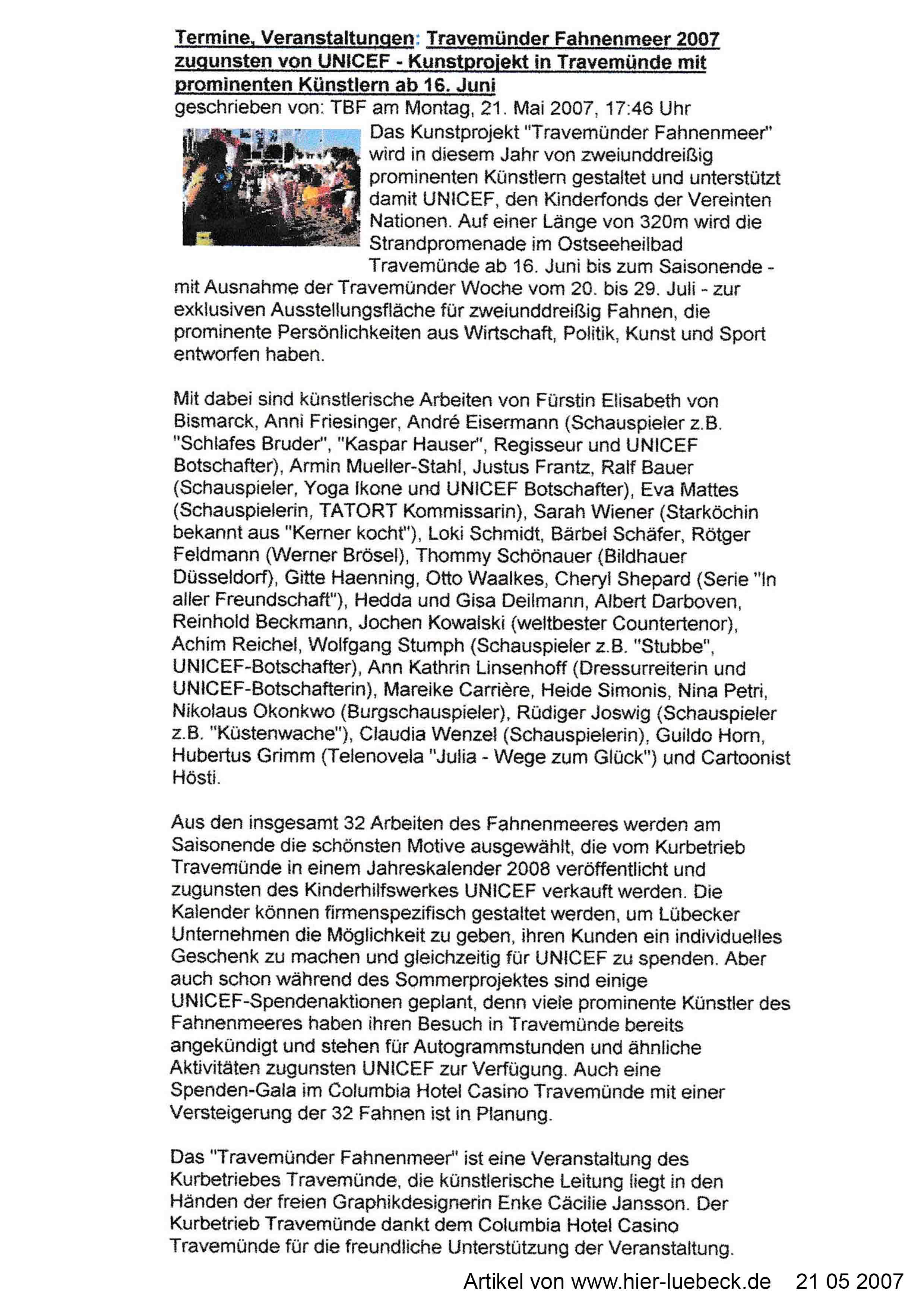 Artikel von www hier luebeck de 21 05 2007