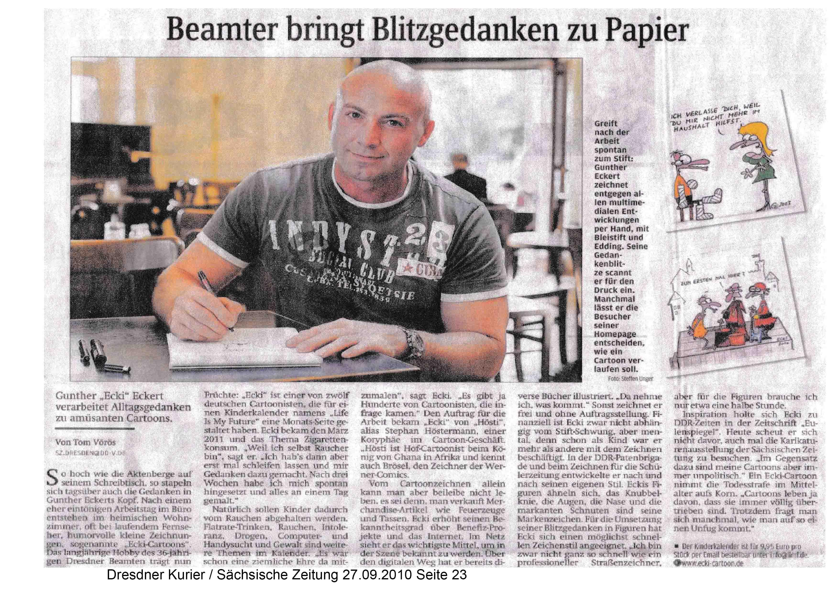 Dresdner Kurier Sächsische Zeitung 27 09 2010 Seite 23