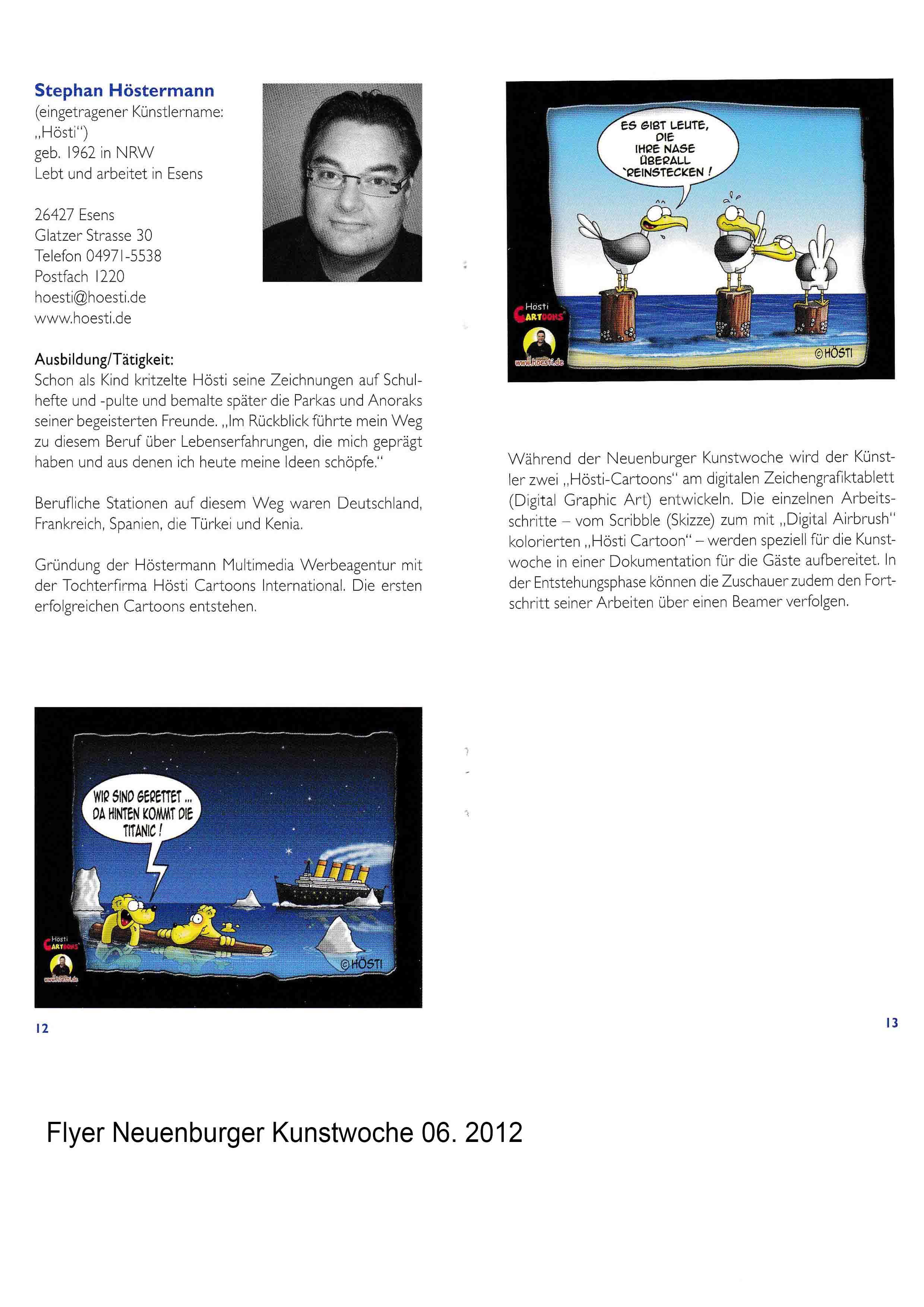Flyer Neuenburger Kunstwoche 06 2012