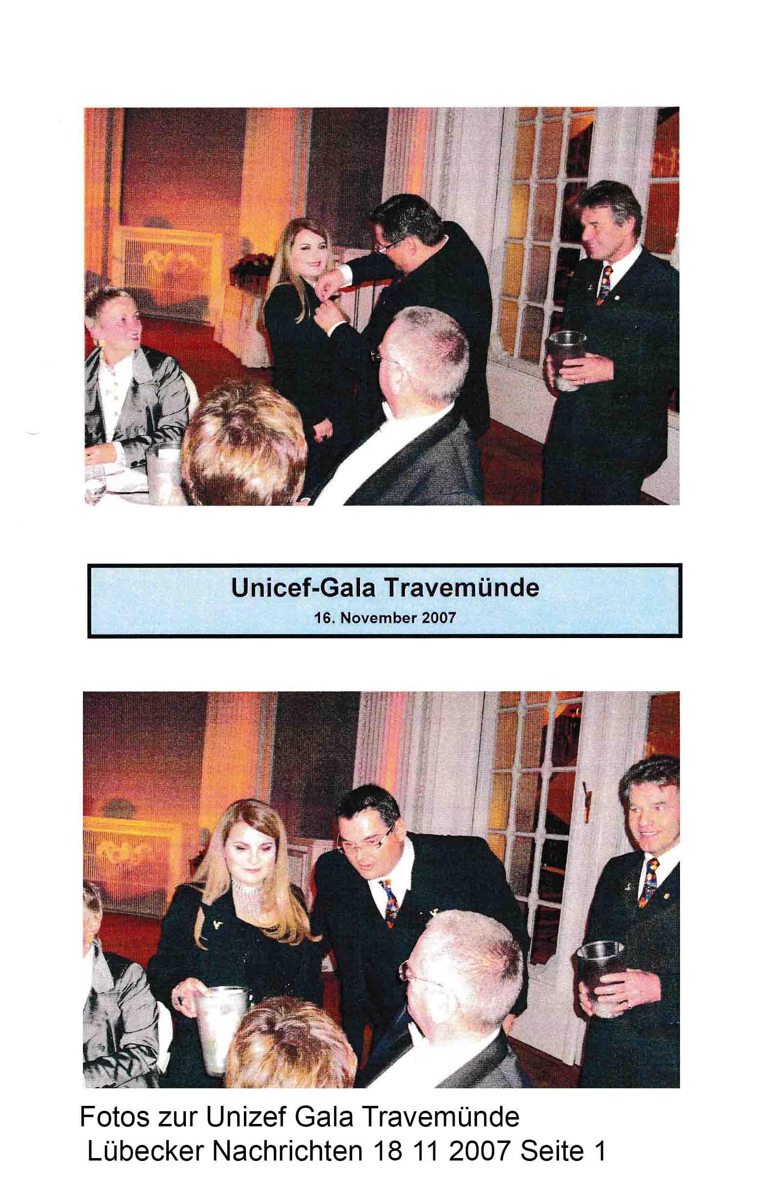 Fotos zur Unicef Gala Travemünde Lübecker Nachrichten 18 11 2007 Seite 1