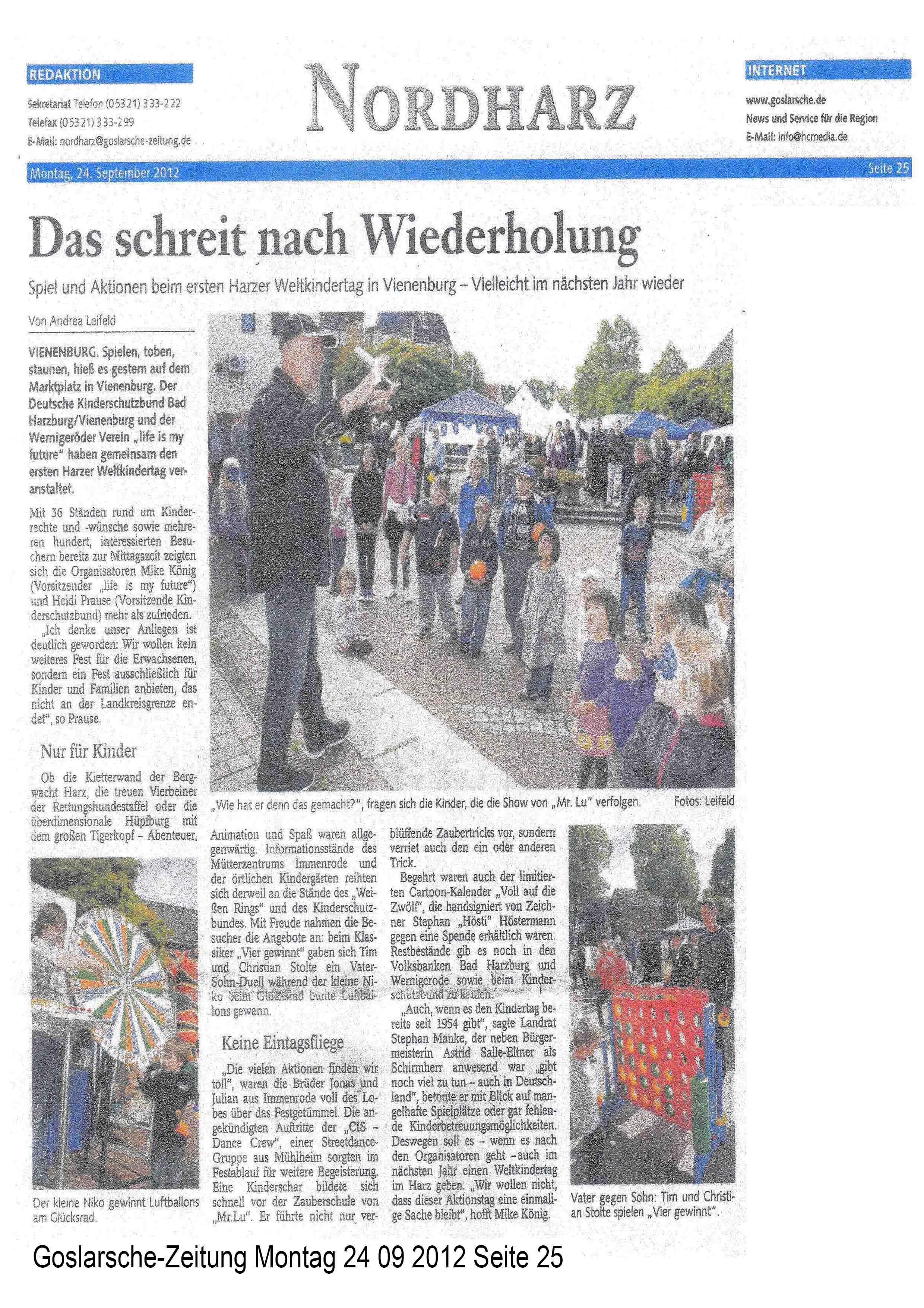 Goslarsche-Zeitung Montag 24 09 2012 Seite 25