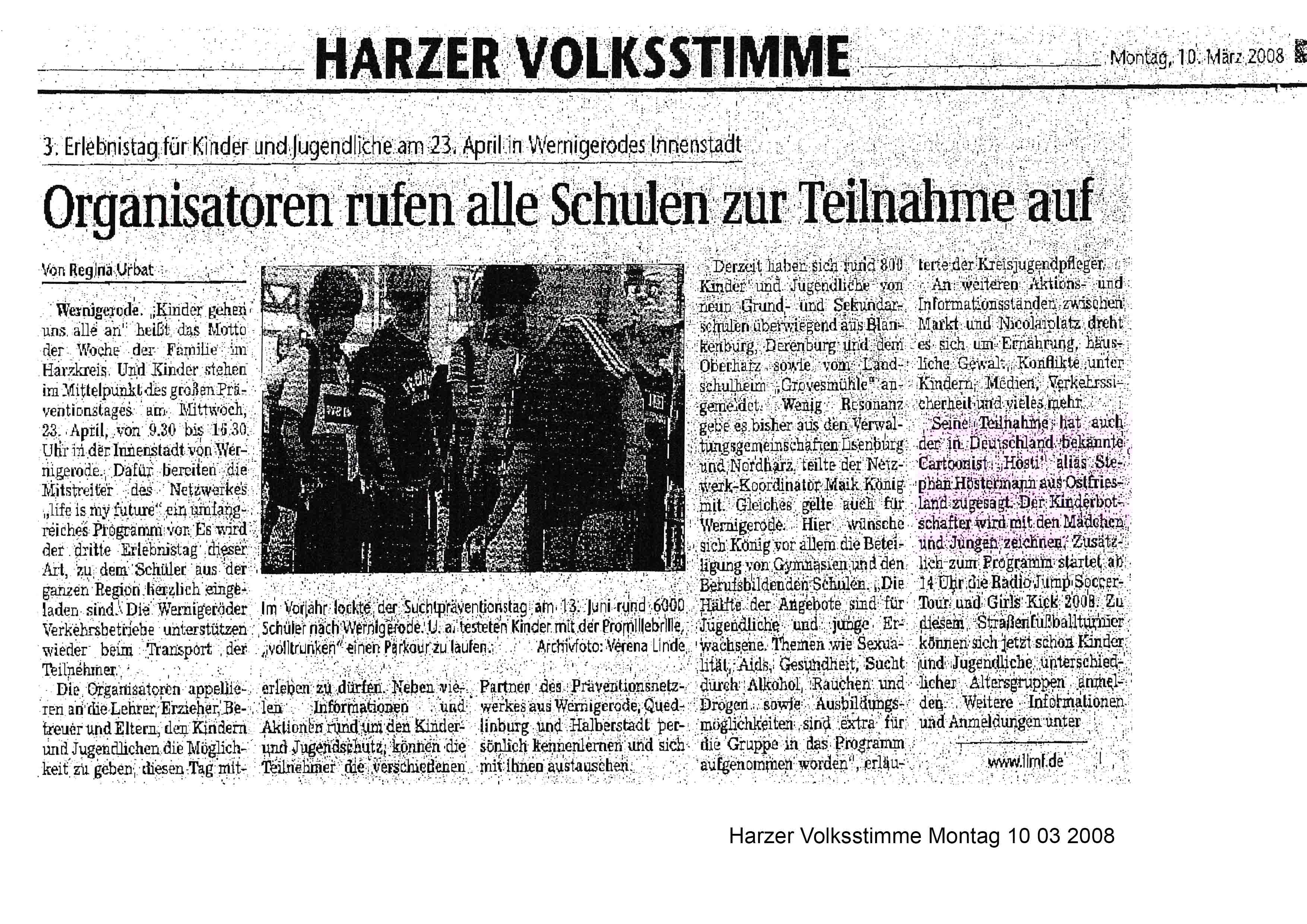 Harzer Volksstimme Montag 10 03 2008