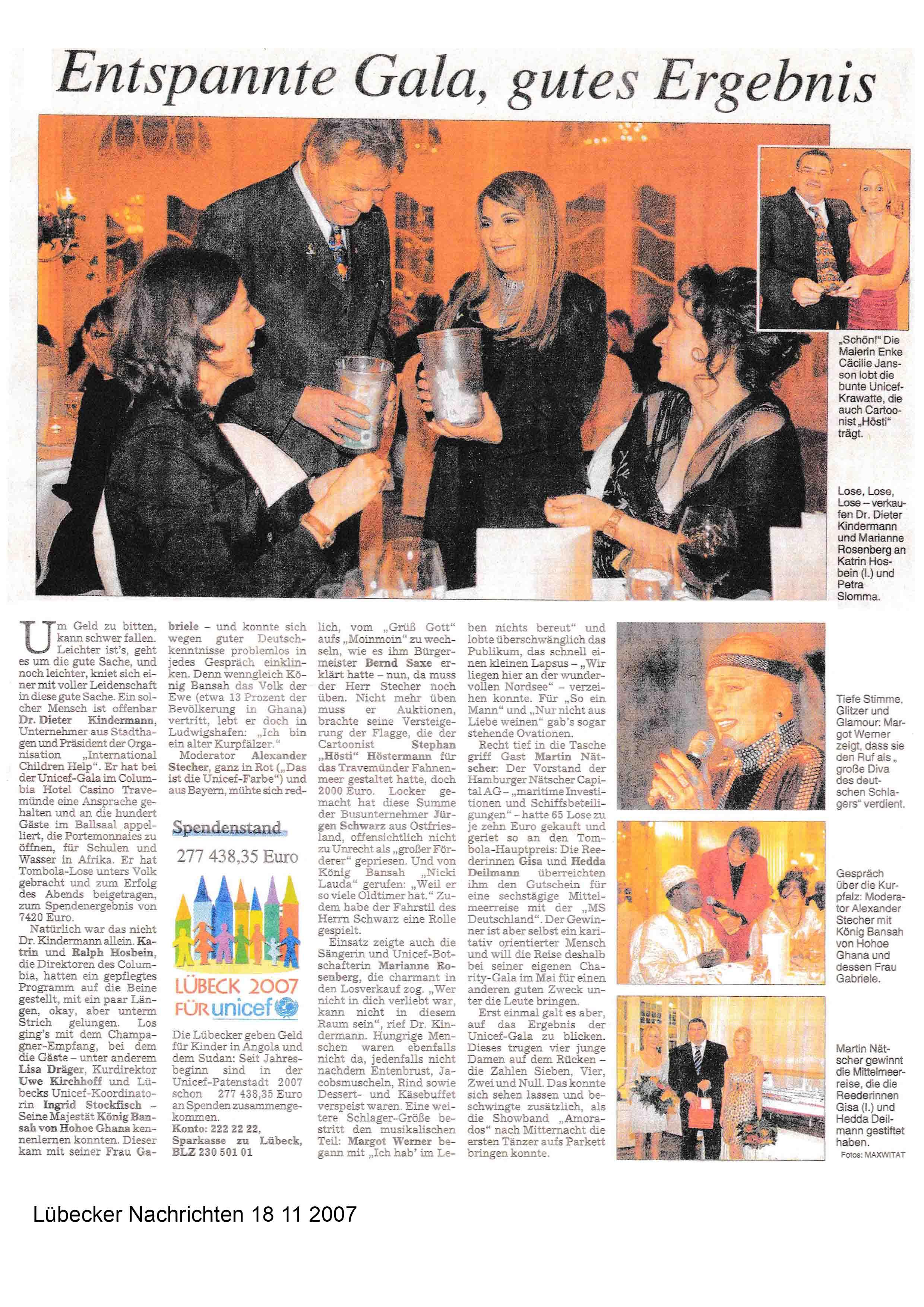 Lübecker Nachrichten 18 11 2007
