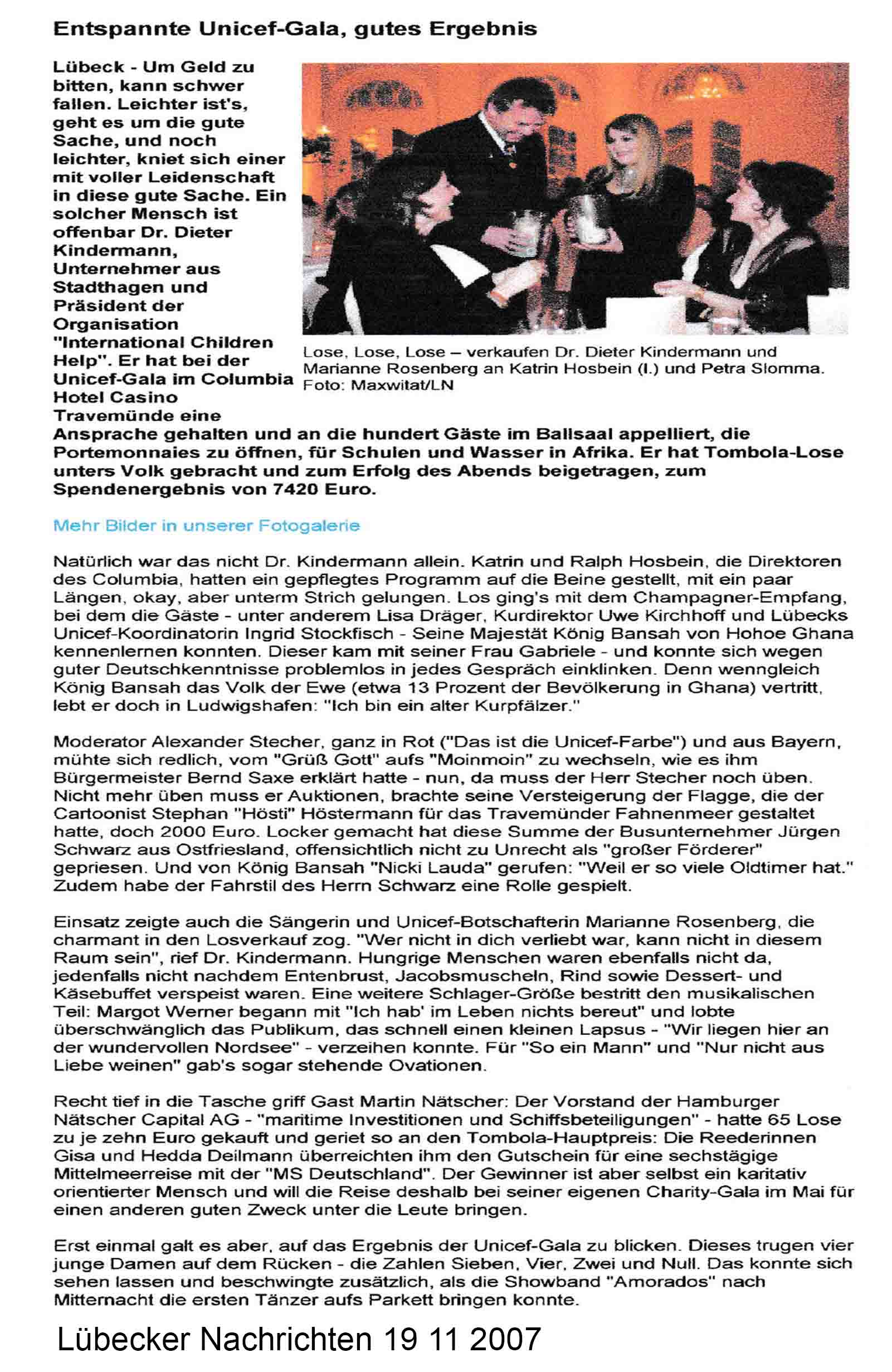 Lübecker Nachrichten 19 11 2007