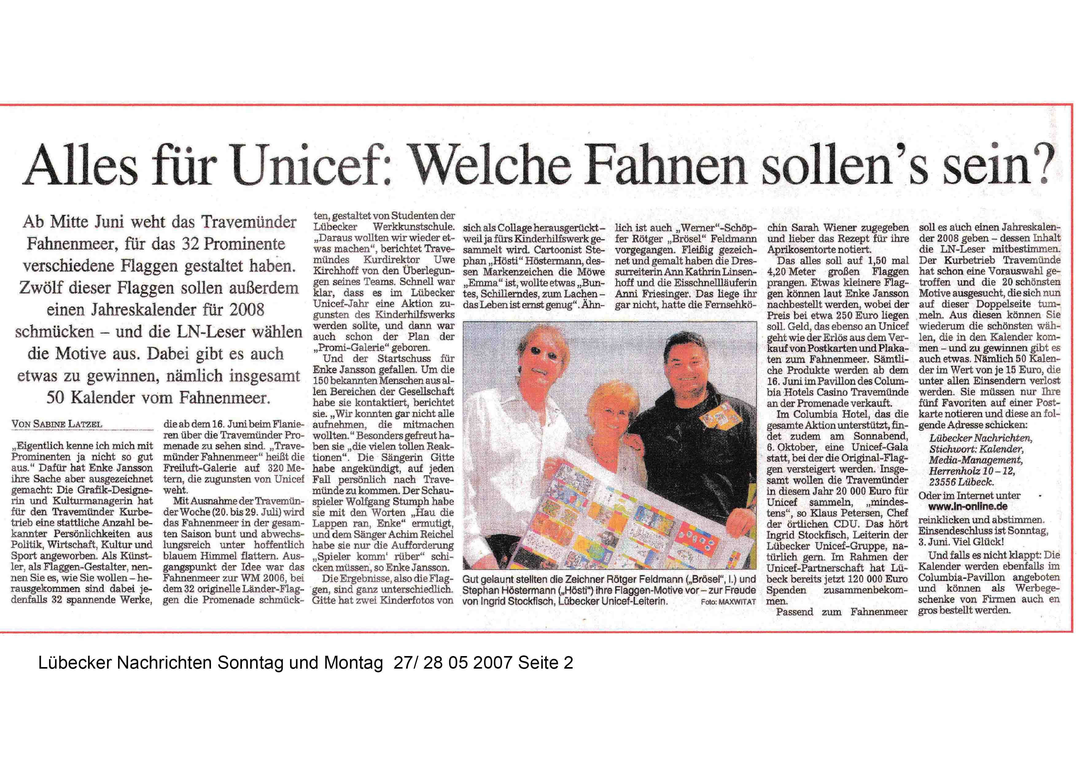 Lübecker Nachrichten Sonntag Montag 27 28 05 2007 Seite 2