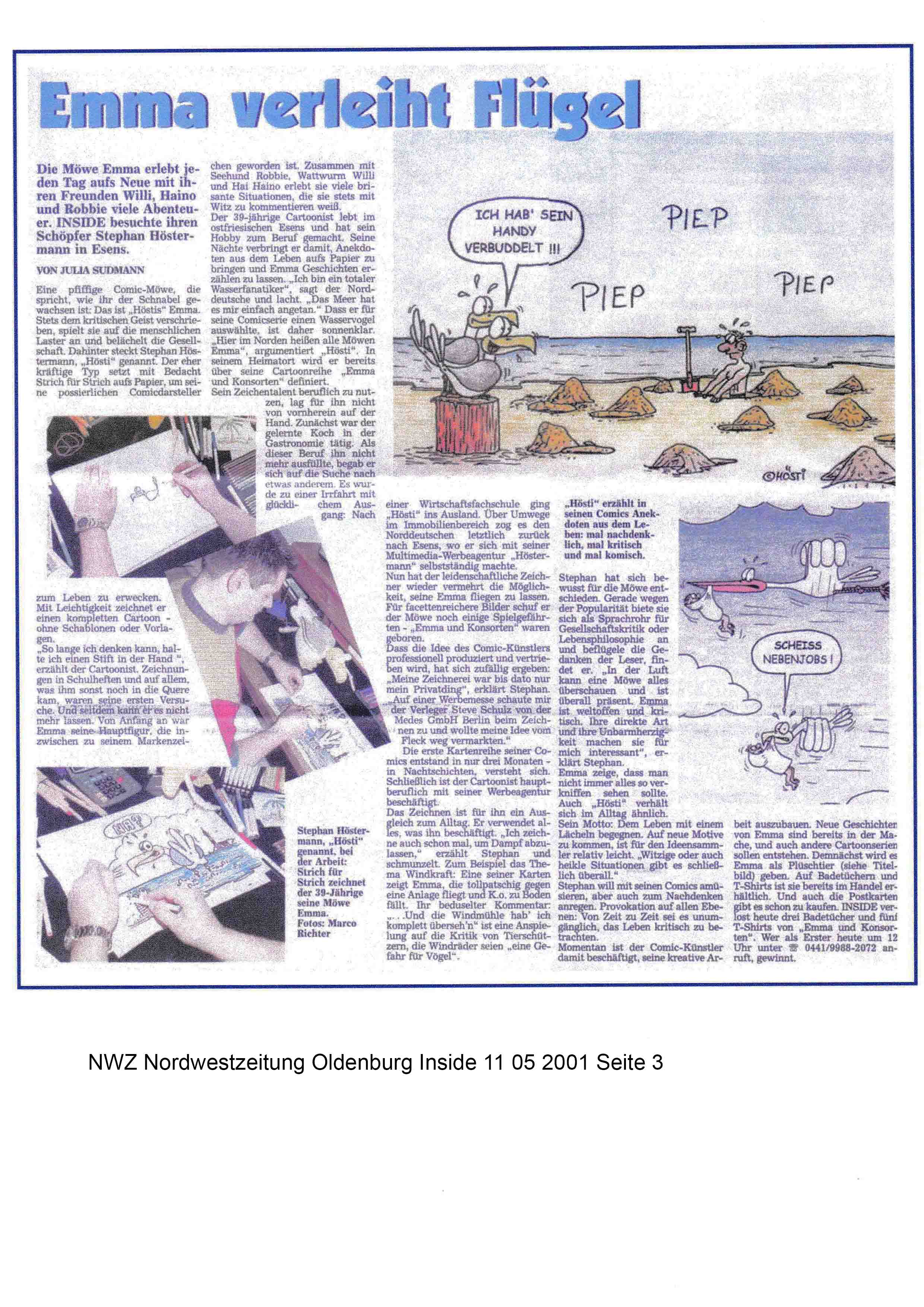 NWZ Nordwestzeitung Oldenburg Inside 11 05 2001 Seite 3