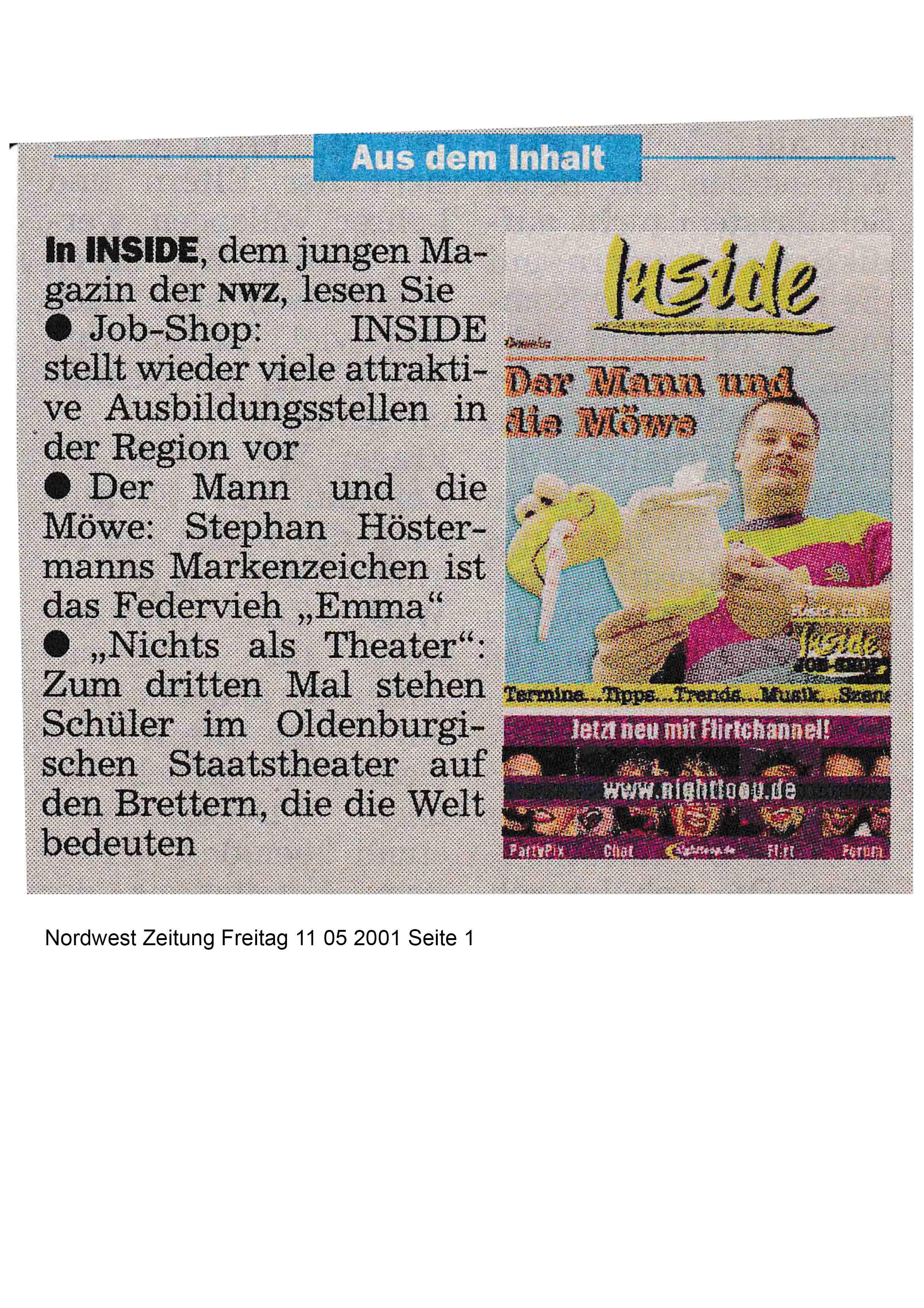 Nordwest Zeitung Freitag 11 05 2001 Seite 1