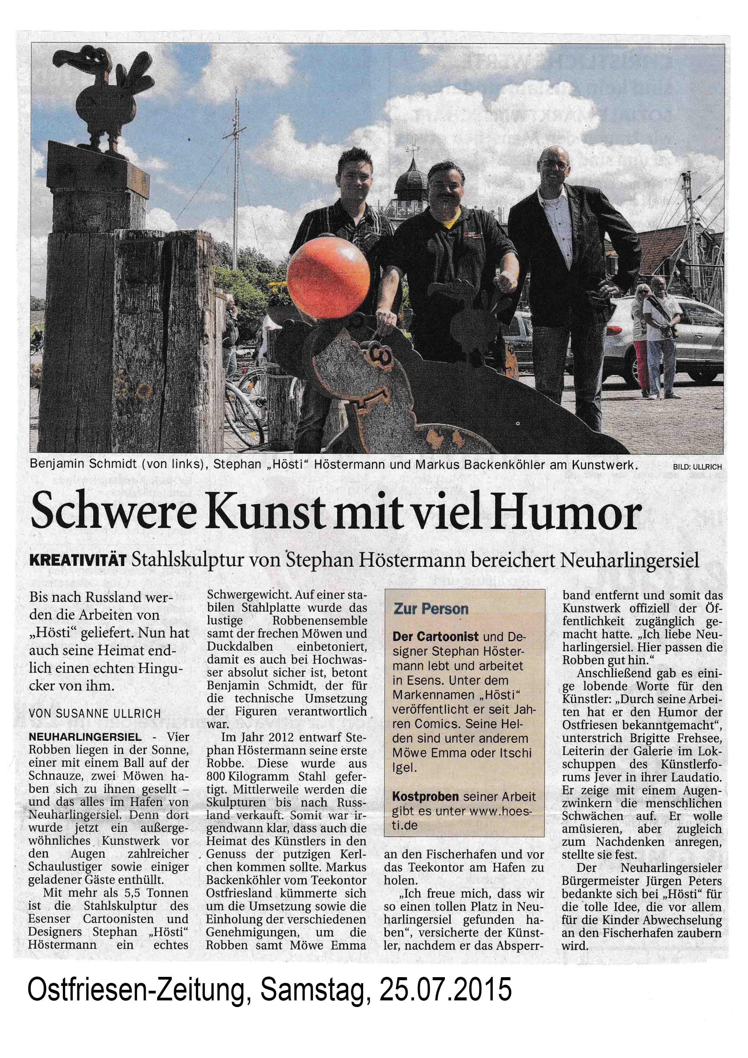 Ostfriesen-Zeitung, Samstag 25 07 2015