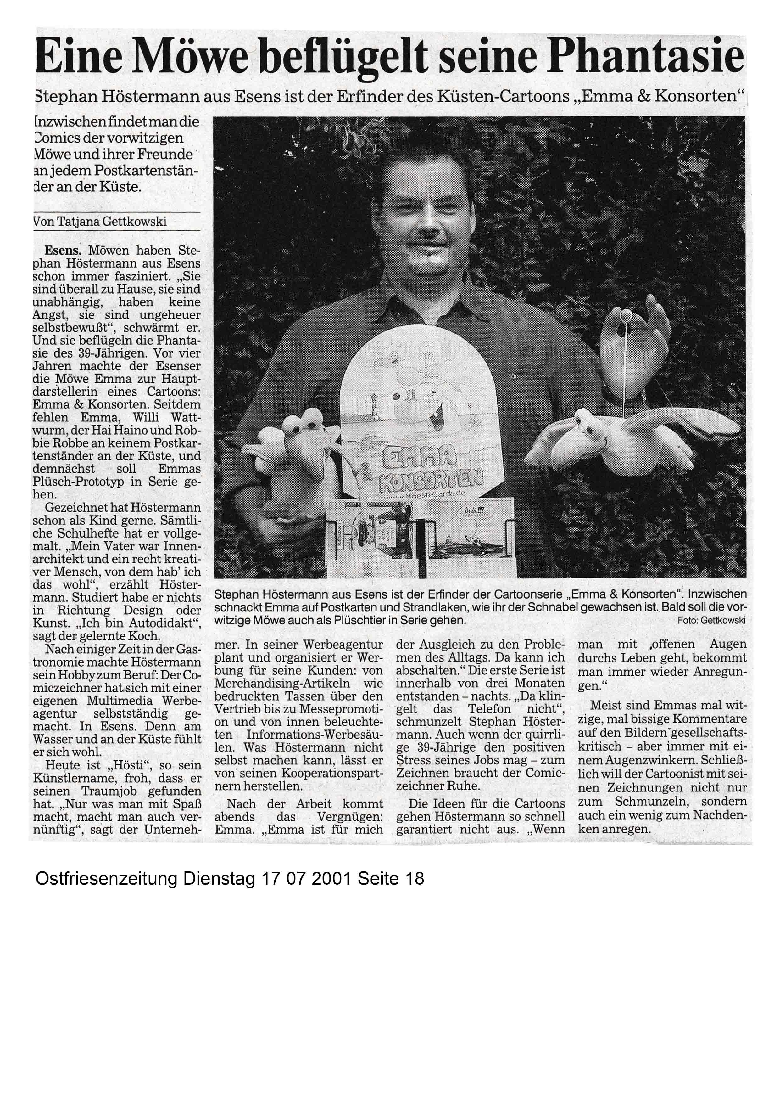 Ostfriesenzeitung Dienstag 17 07 2001 Seite 18