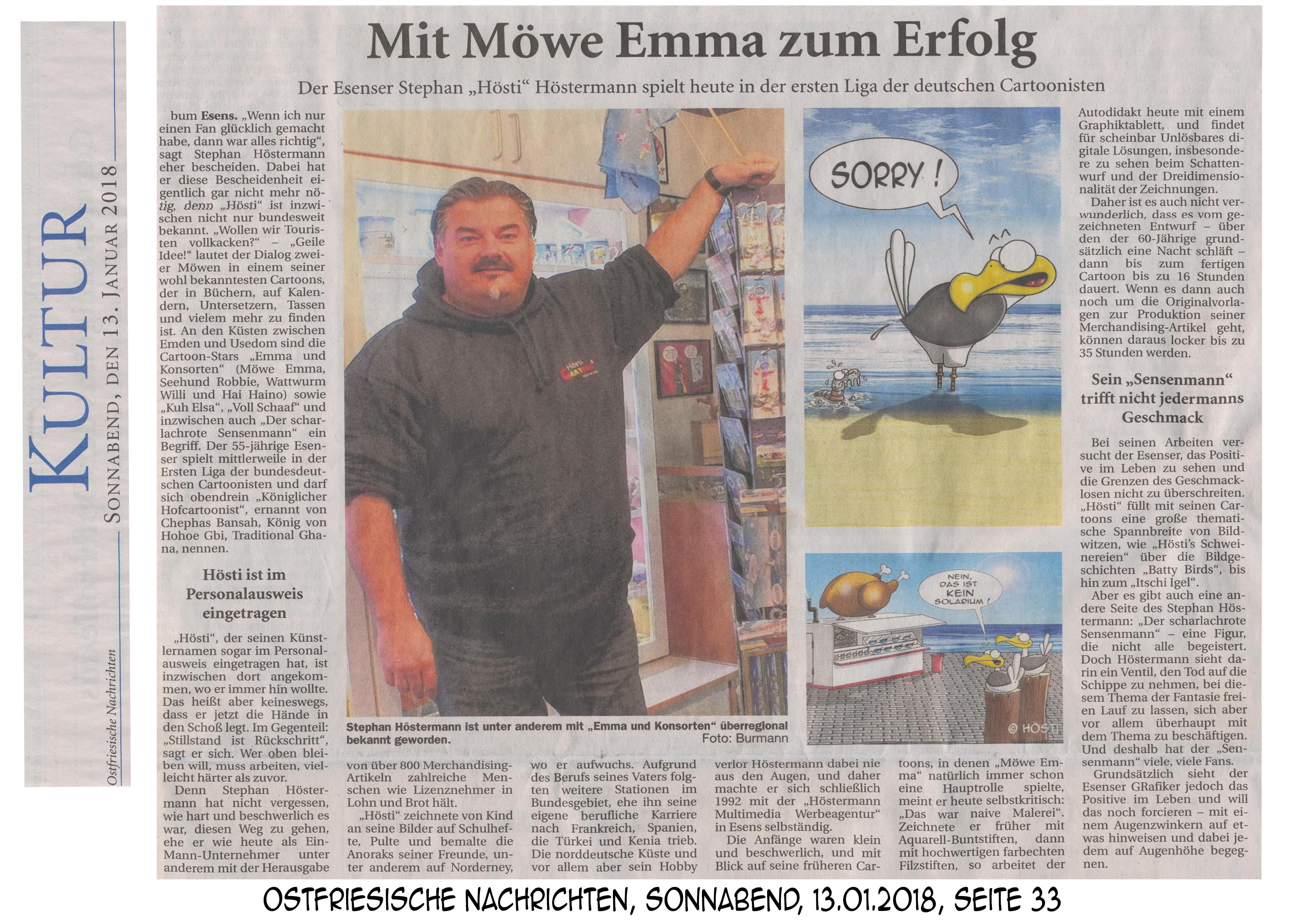 Ostfriesische Nachrichten 13.01. 2018 Seite 33