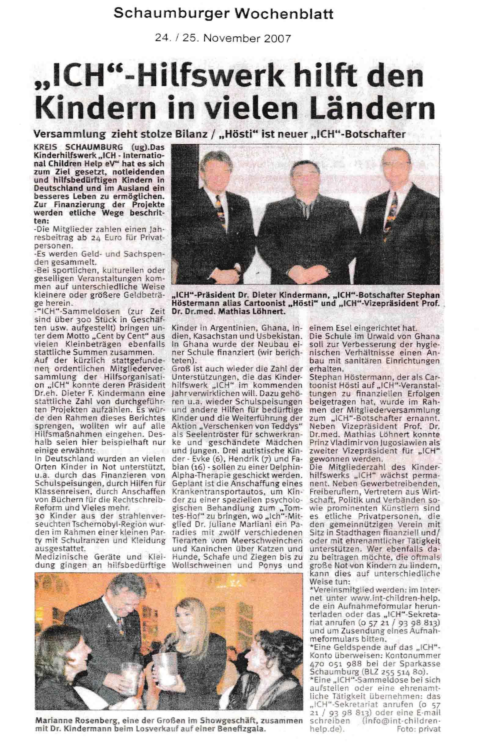 Schaumburger Wochenblatt 24 und 25 11 2007