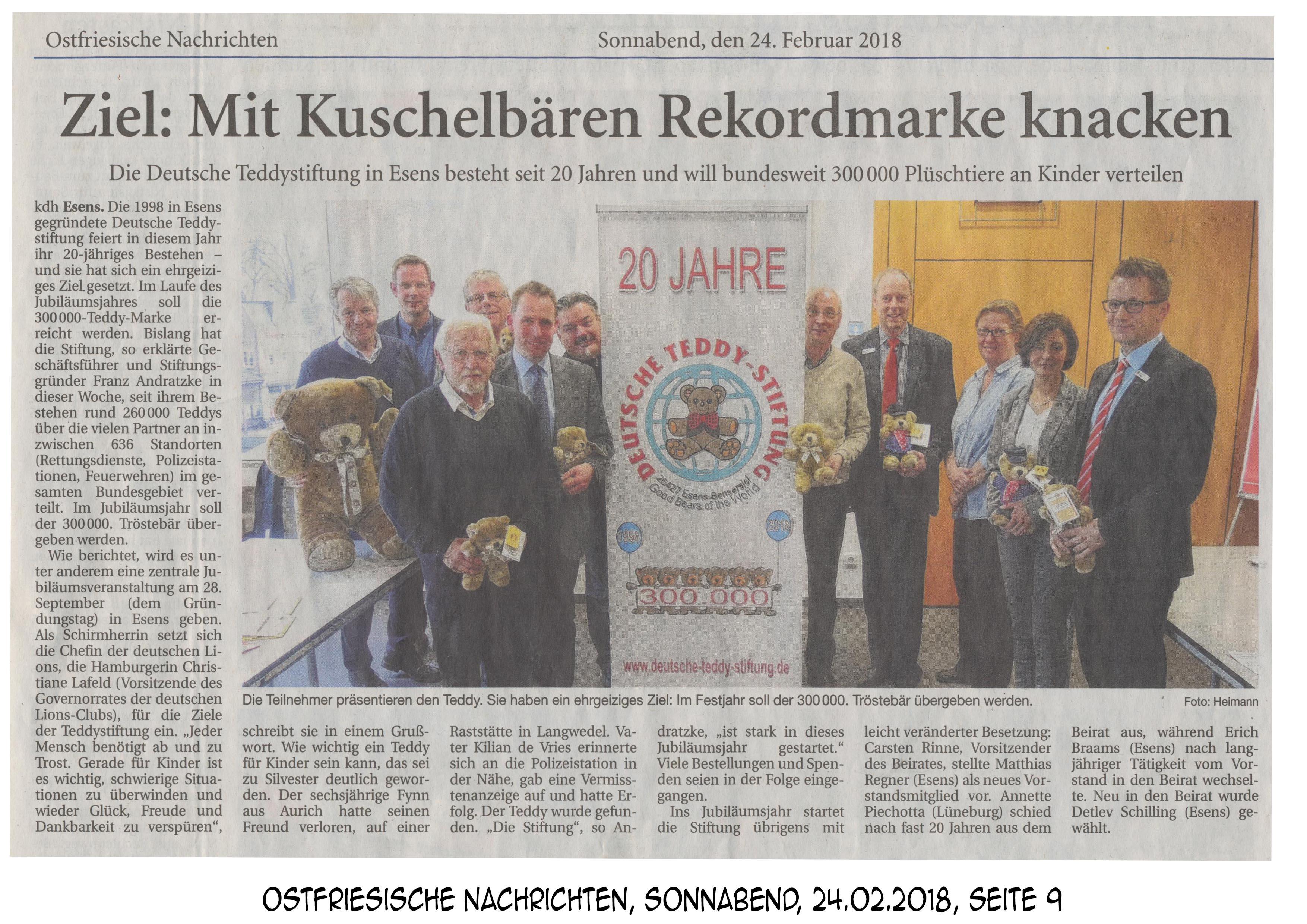 Teddy Stiftung Ostfriesische Nachrichten 240218