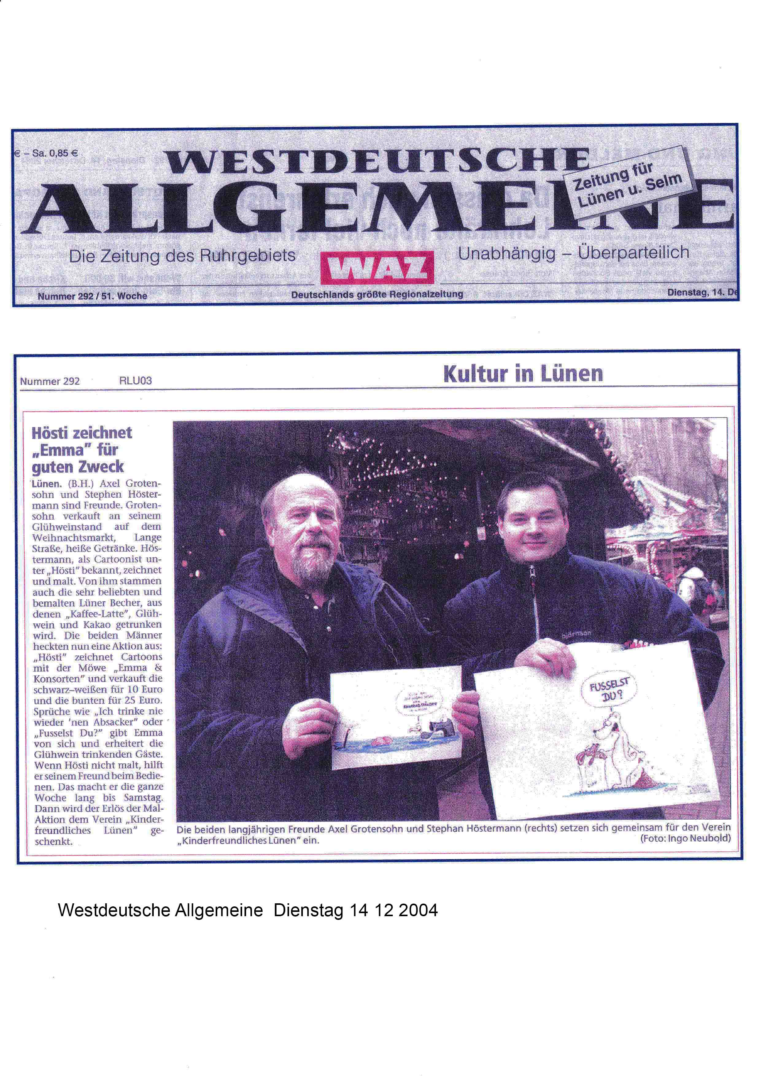 Westdeutsche Allgemeine Dienstag 14 12 2004