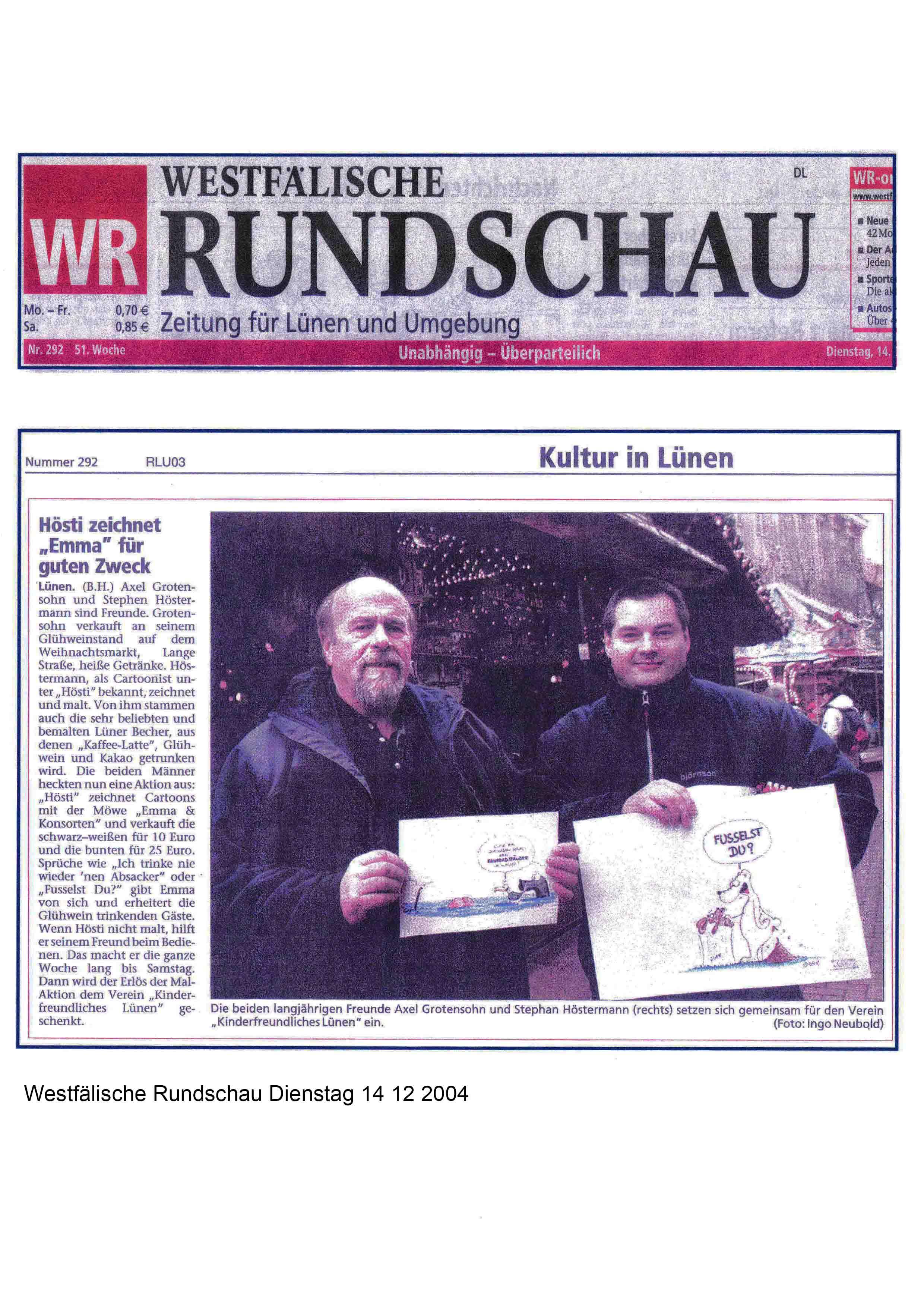 Westfälische Rundschau Dienstag 14 12 2004