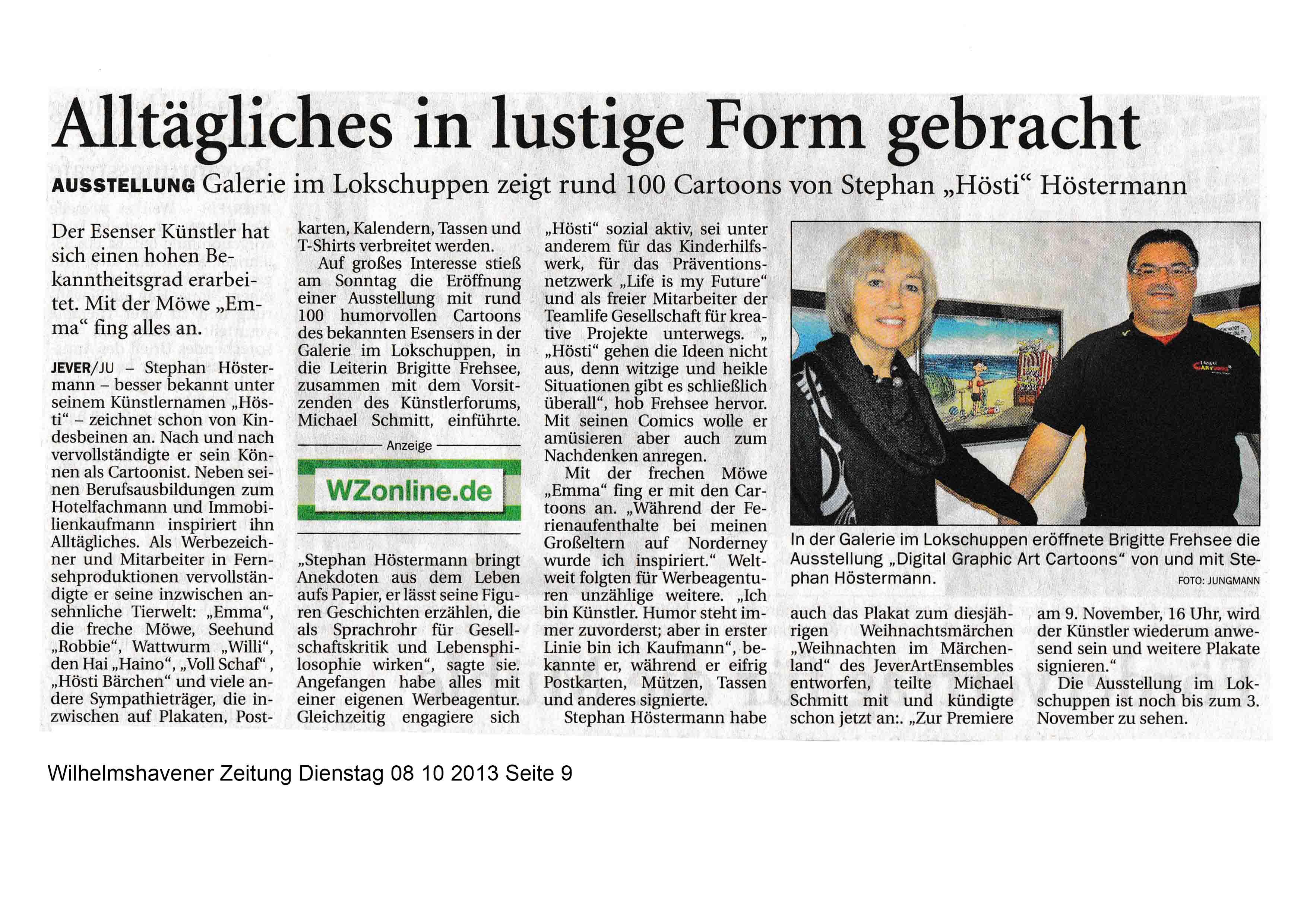 Wilhelmshavener Zeitung Diensatg 08 10 2013 Seite 9