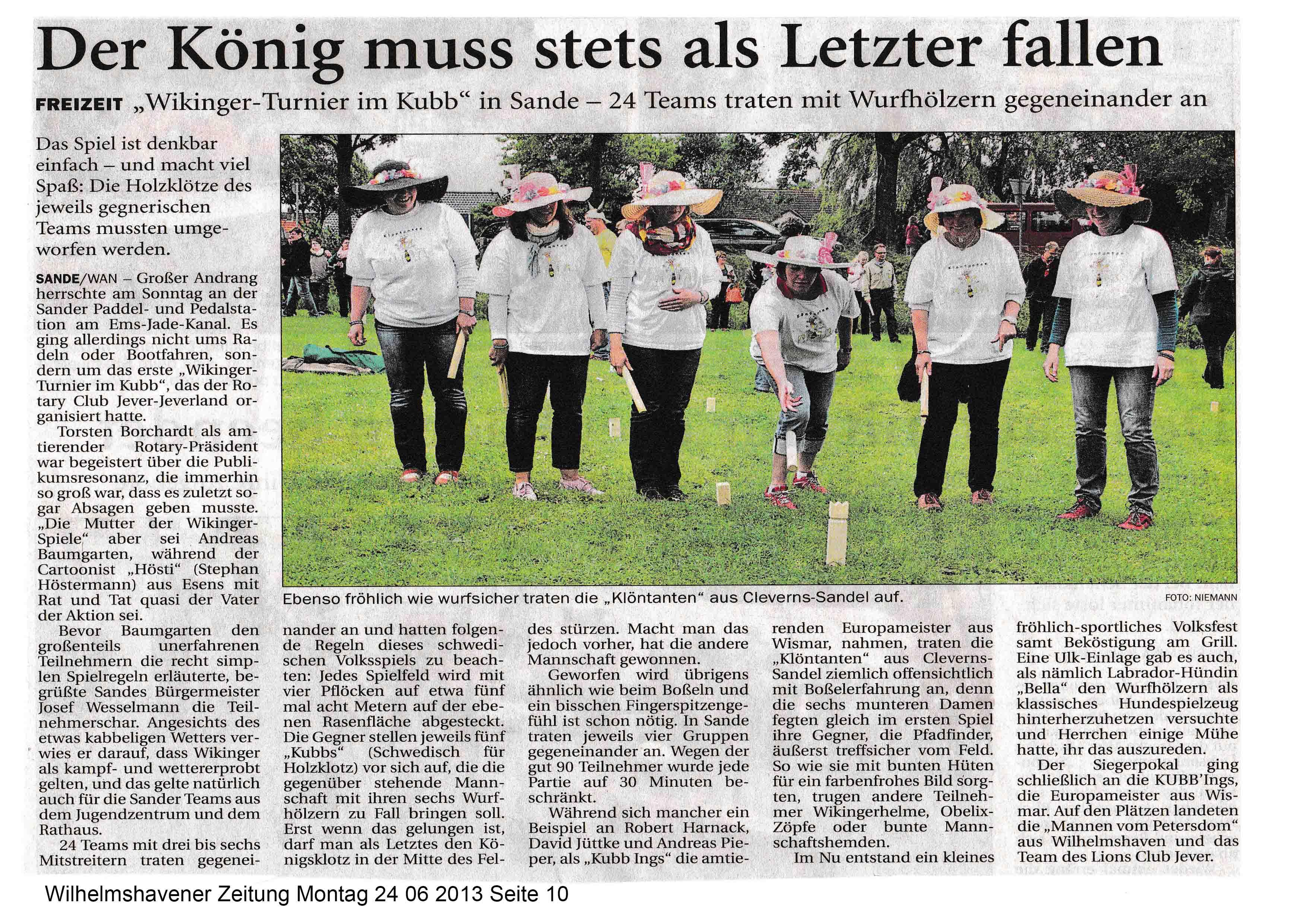 Wilhelmshavener Zeitung Montag 24 06 2013 Seite 10