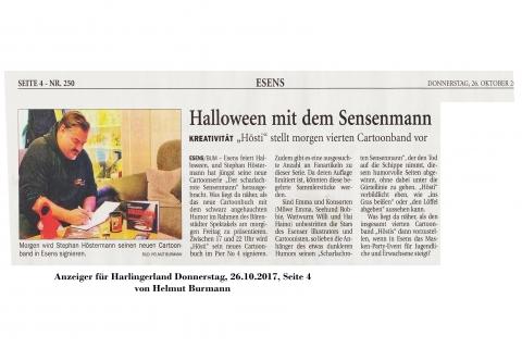 Anzeiger für Harlingerland Donnerstag 26 10 2017 Halloween und Buchvorstellung