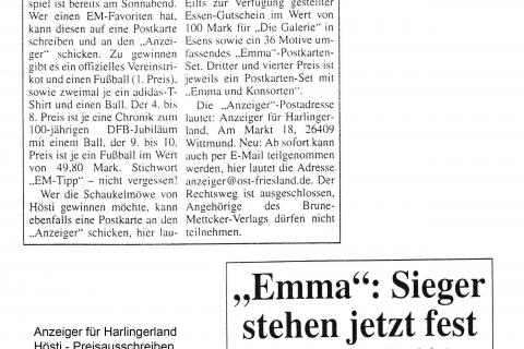 Anzeiger für Harlingerland Hösti Preisausschreiben 06 2000
