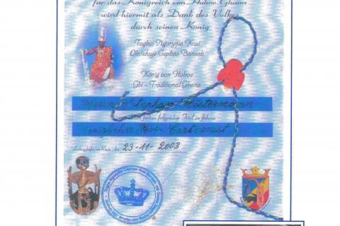 Ernennungsurkunde Höstis zum Hofcartoonisten des Königs von Ghana