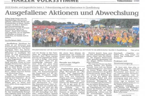 Harzer Volksstimme Freitag 18 07 2010