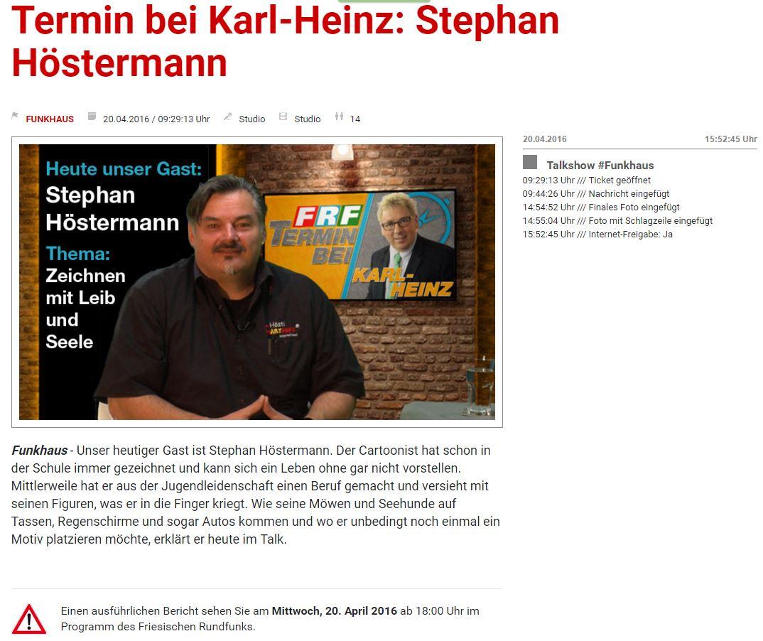 Hösti zu Gast beim TV Sender FRF 1 BILD 2