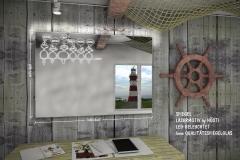 Wandspiegel, Glasuhren und Glasbilder